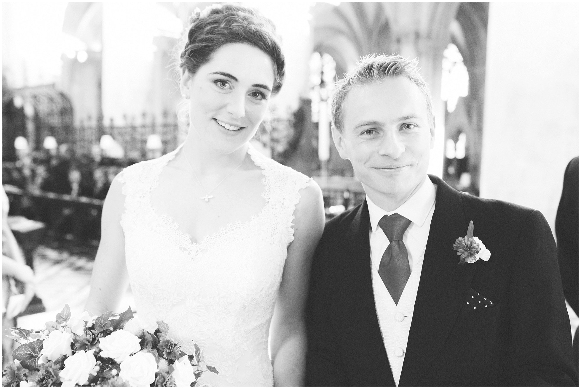 Couple just after they've signed the wedding register at Christ Church College Wedding Oxford