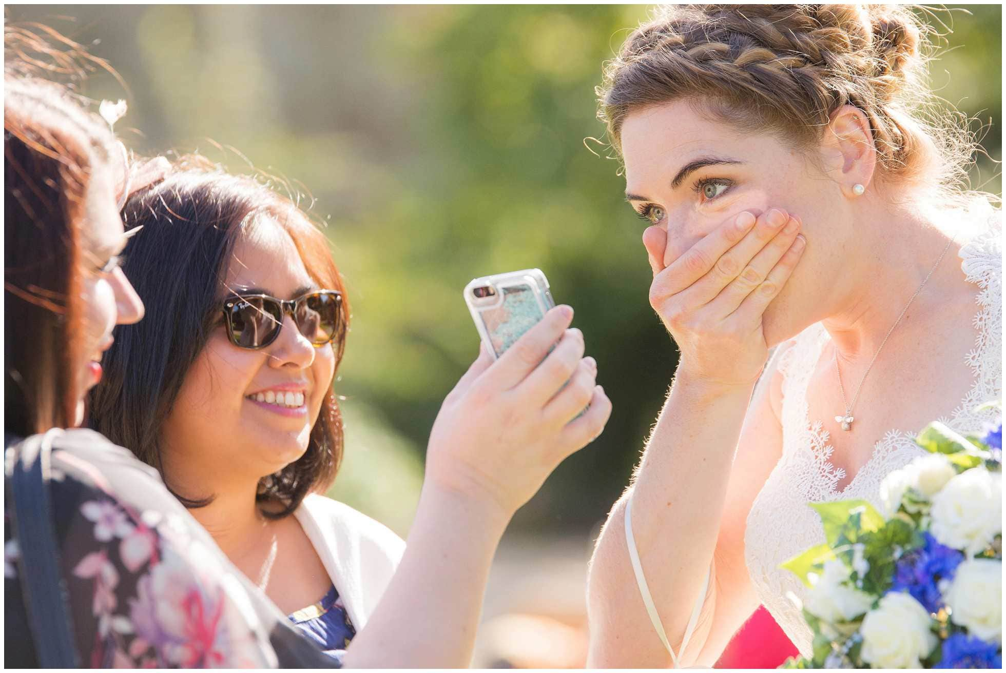 OMG moment with bride and mobile phone!