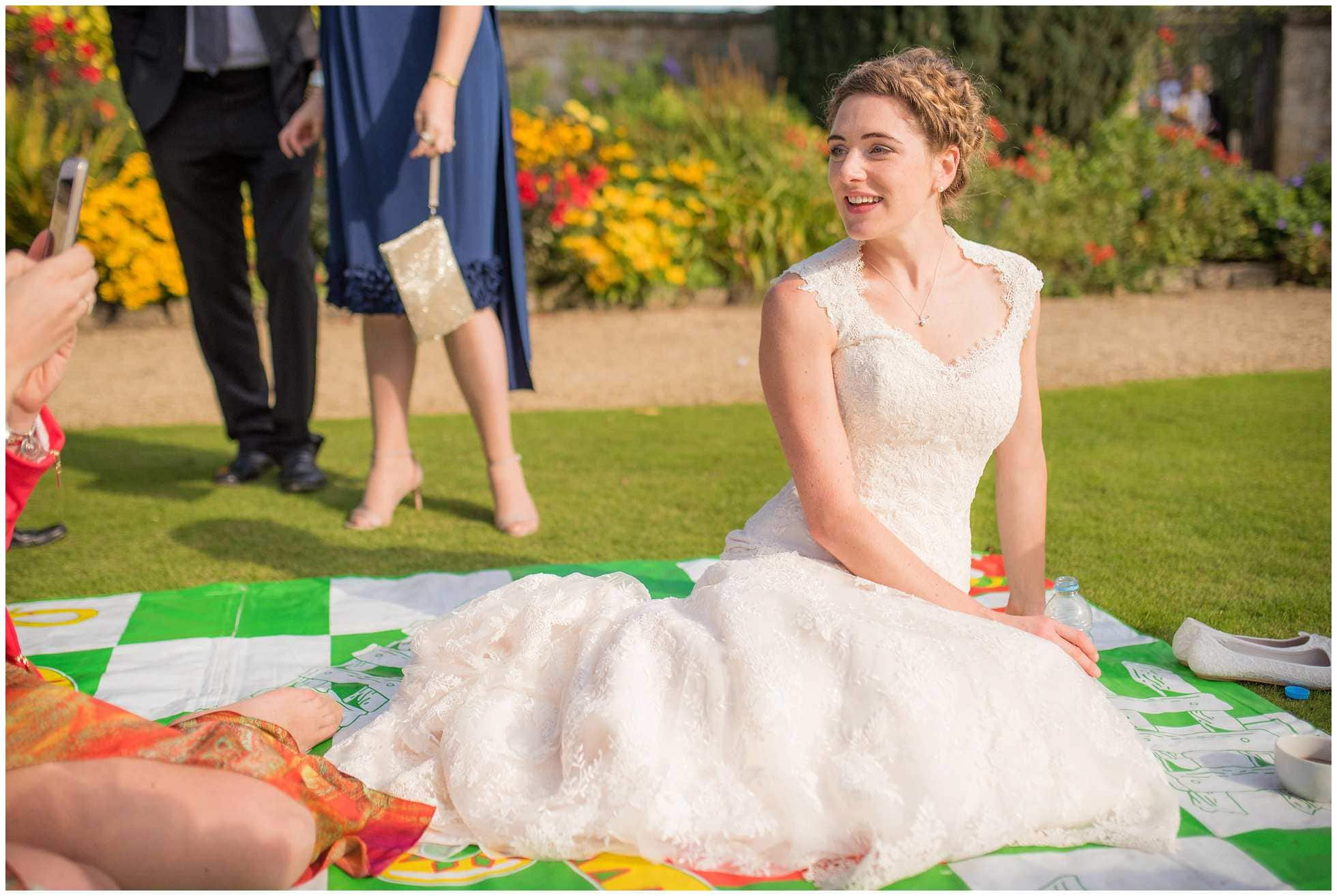 A stunning bride chilling