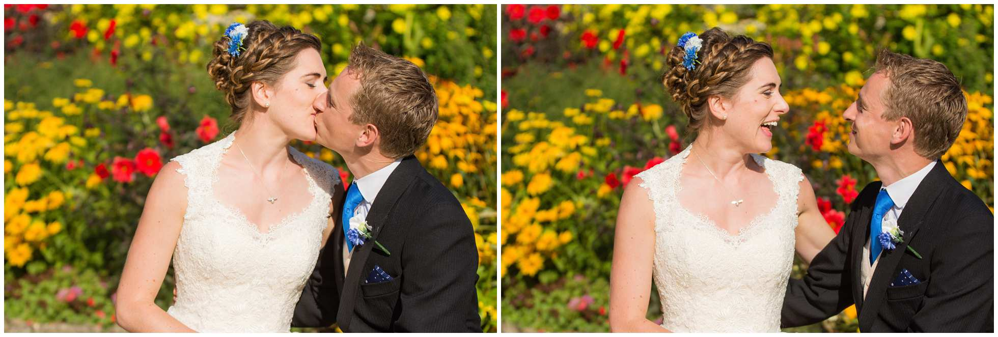 Kissing in the flower beds!
