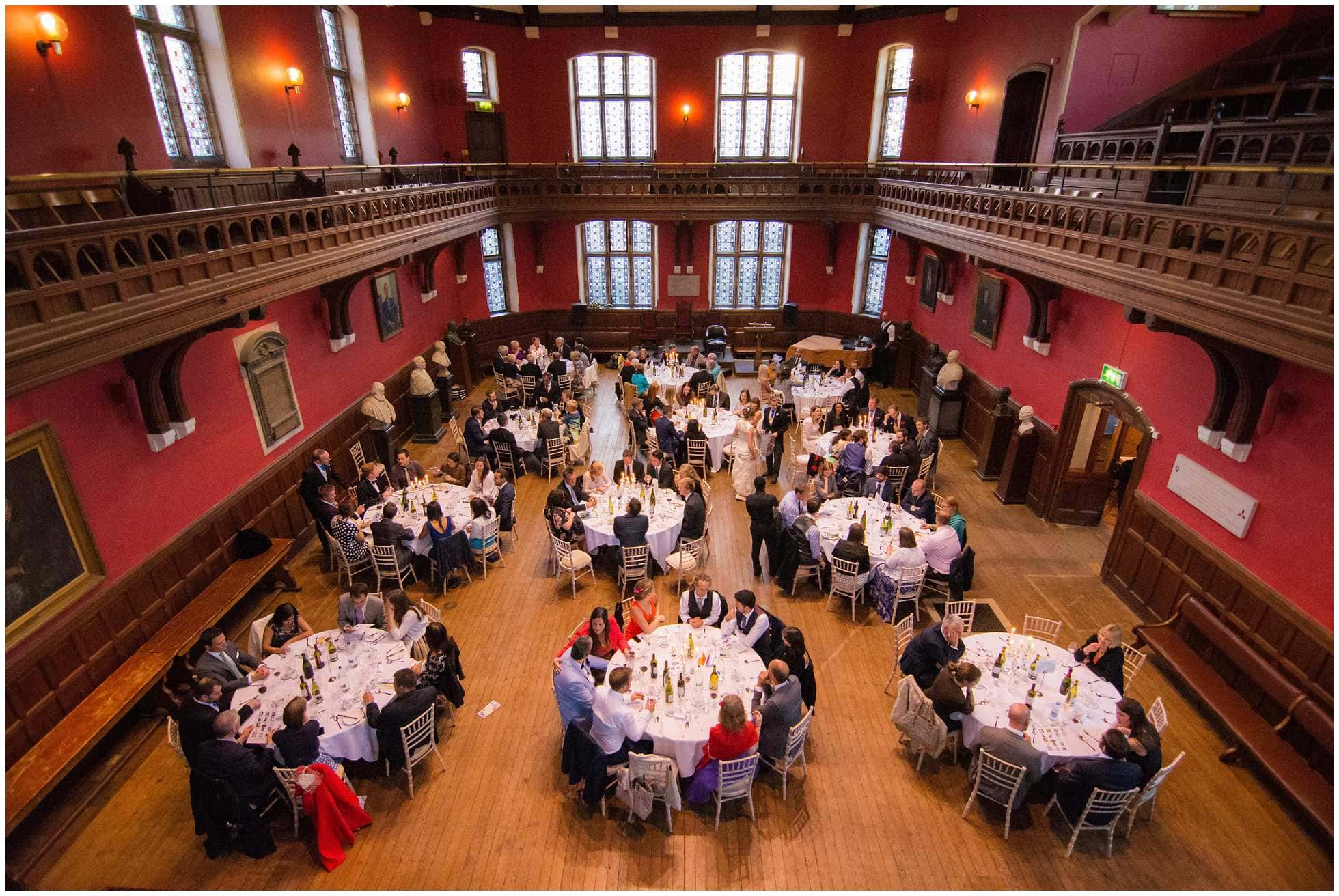 The debating chamber at Oxford Union during a wedding meal