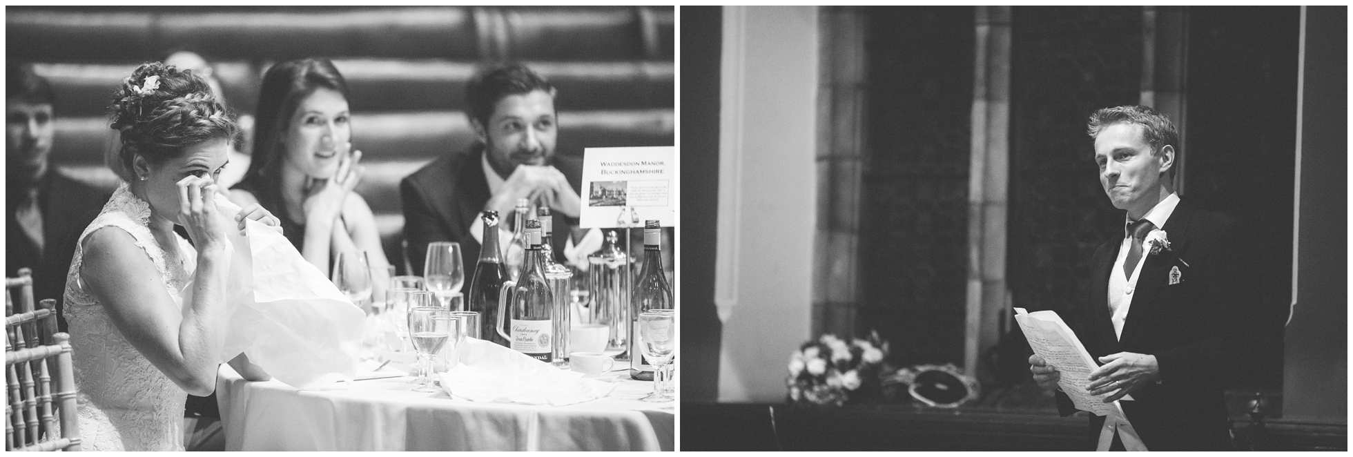 The grooms speeche at Oxford Union makes the bride cry