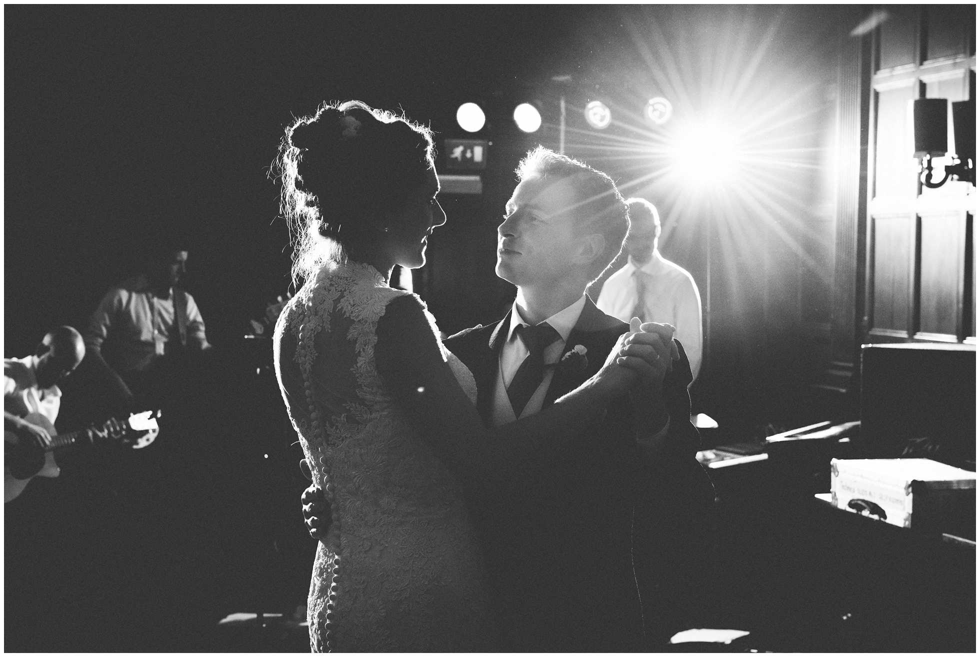 The first dance at Oxford Union Wedding with backlighting