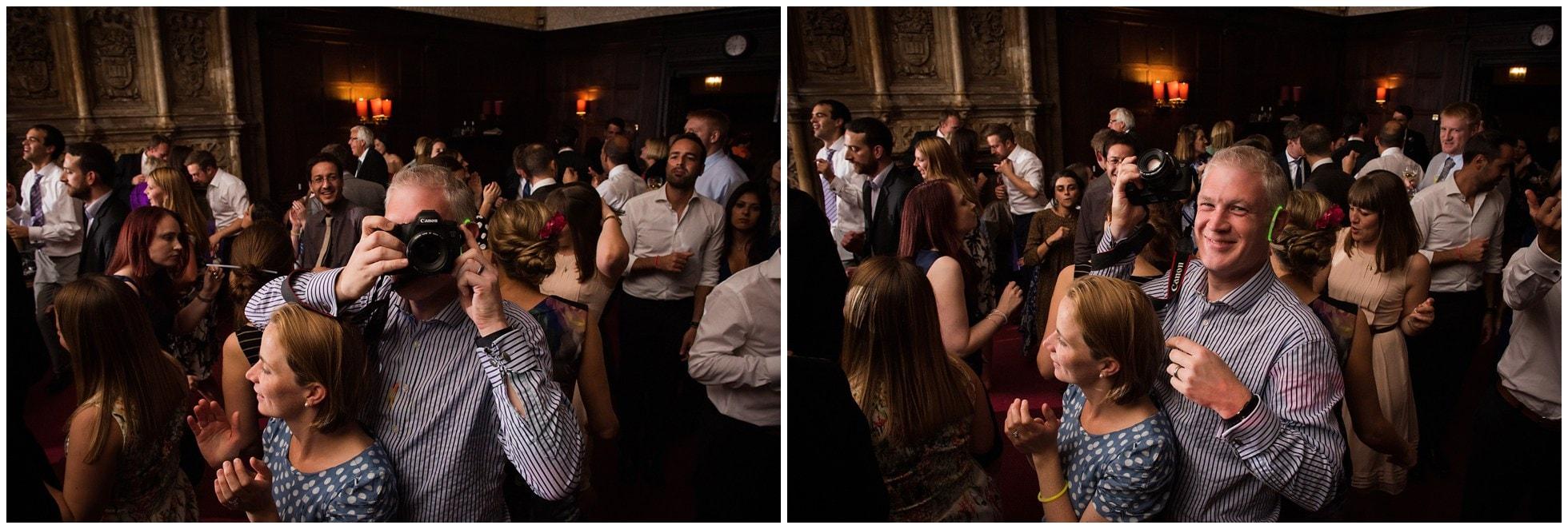 Photographer shooting a photographer at Oxford Union wedding reception