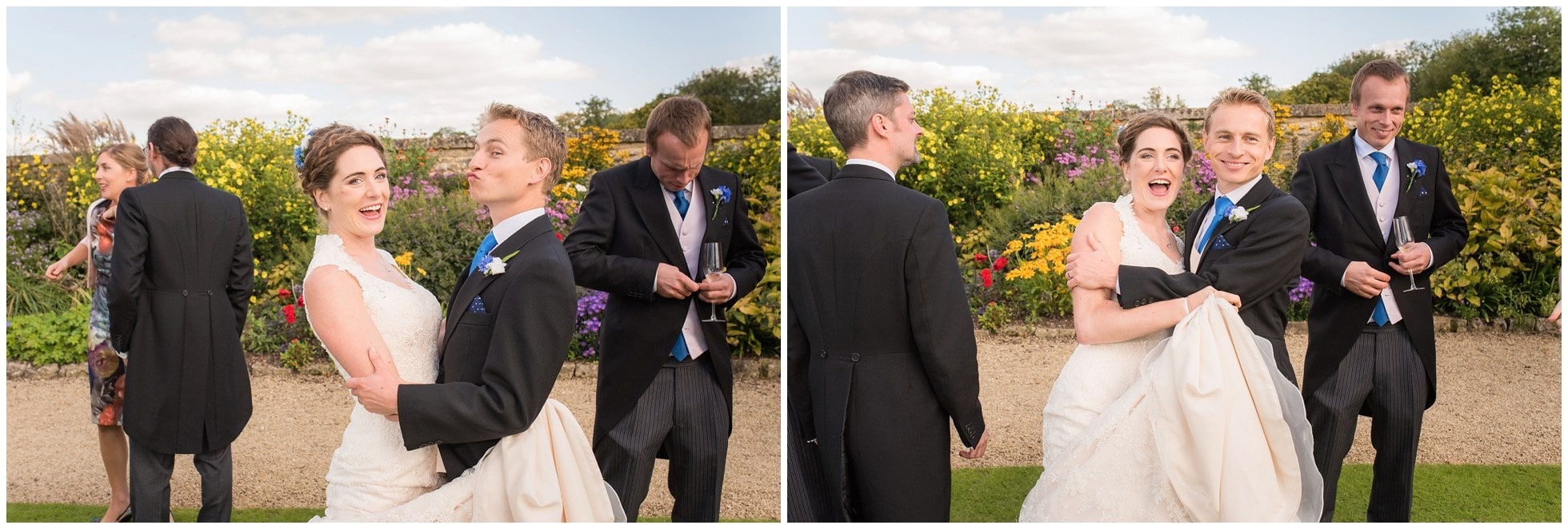 Bride and groom goofing around in the masters garden christ church college oxford