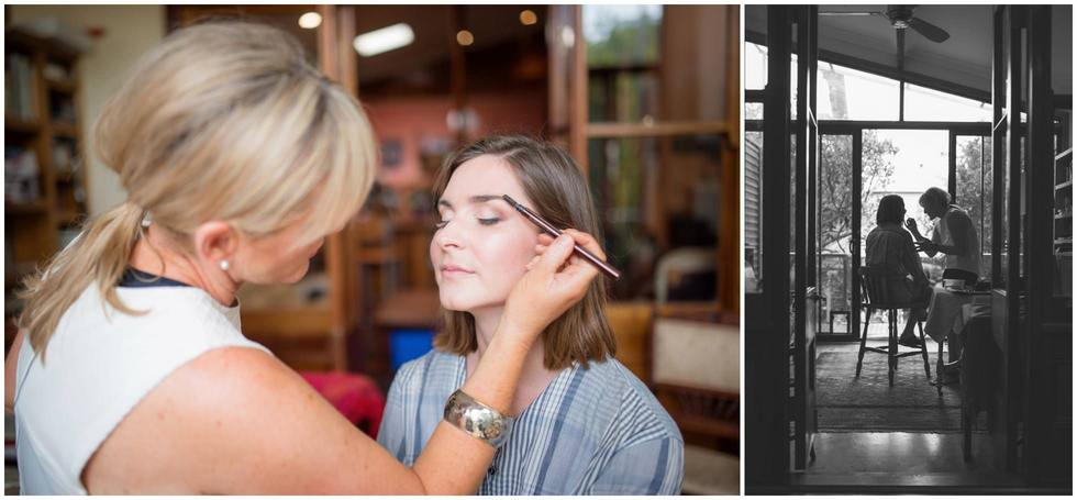 The Sydney make up artist applying make-up to the beautiful bridesmaids