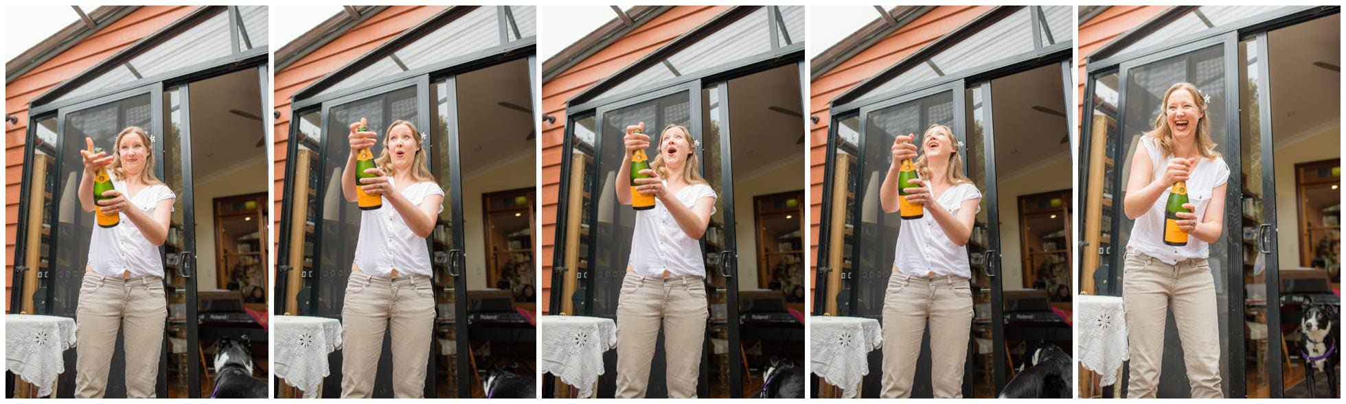 Popping the champagne before a wedding at Frenchs Forest, Australia