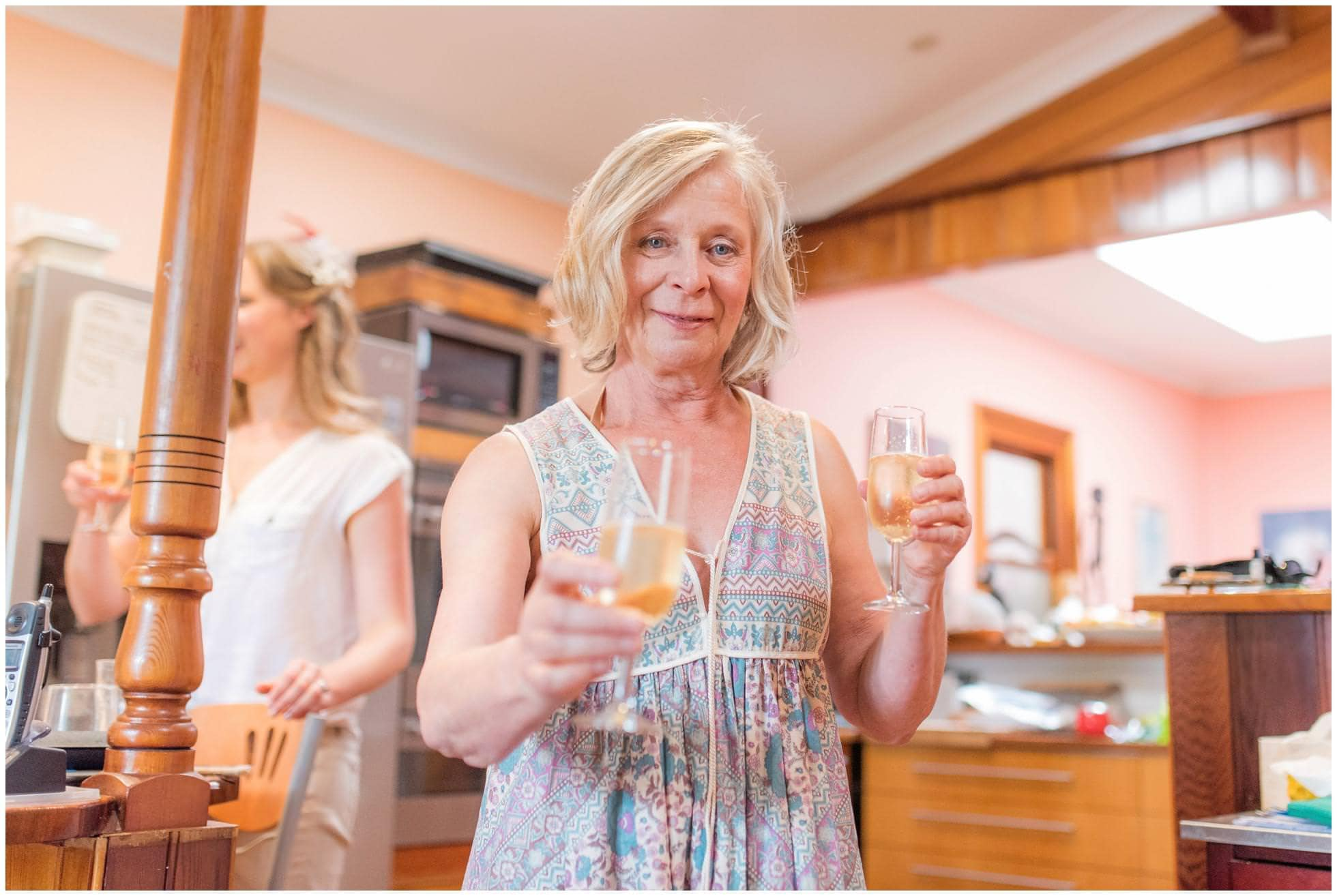 Champagne is served by the lovely mother of the bride in Frenchs Forest, Sydney