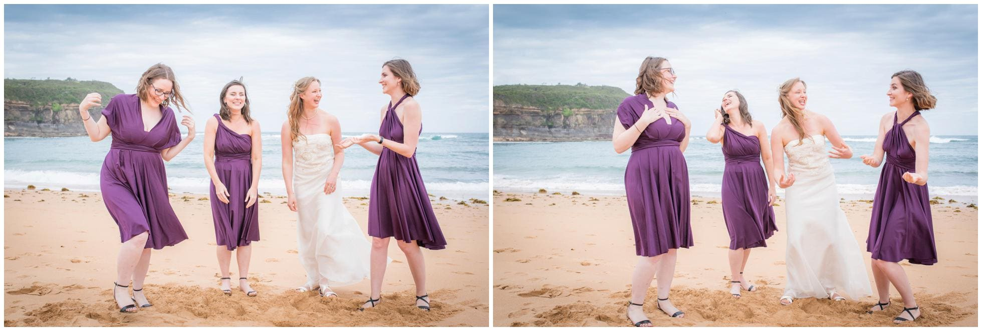 Bridesmaids enjoying silly moments on the beach