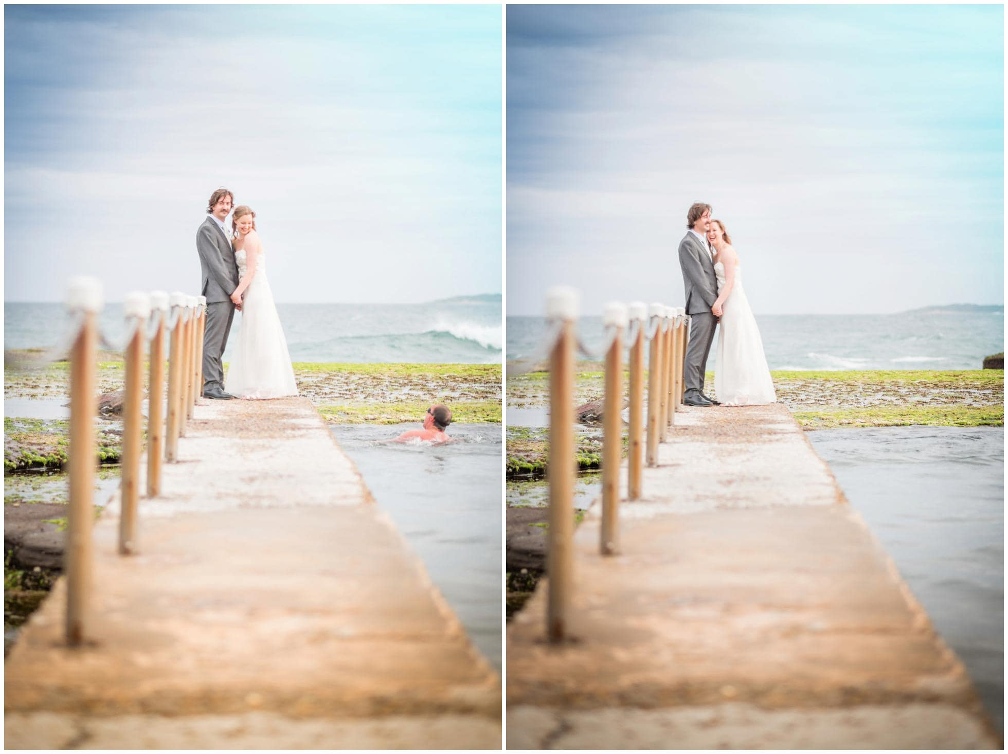 Destination Wedding Photography with some humour! Swimmer swimming into the shot!
