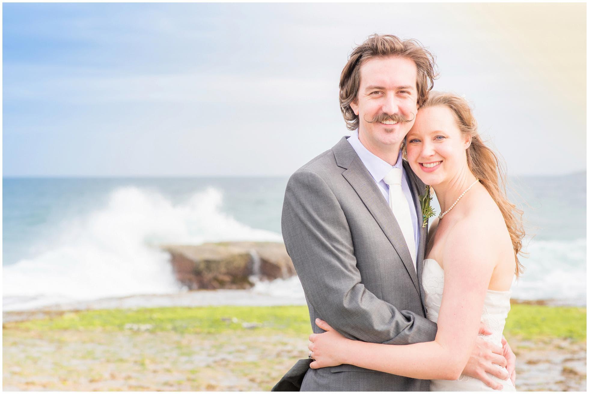 Classic Sydney wedding photography of bride and groom on Mona Vale beach