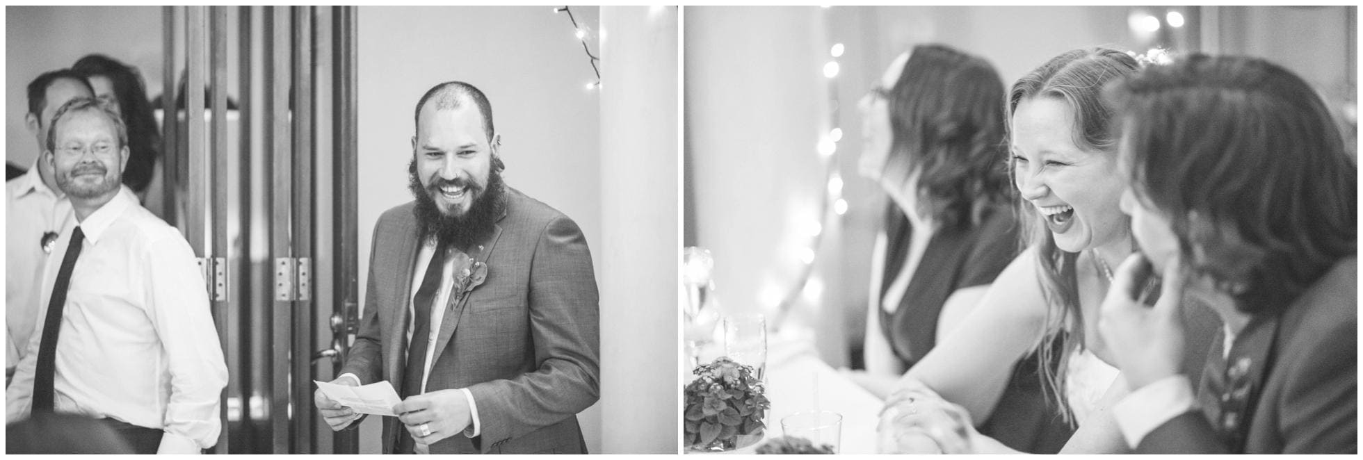 Natural laughter shots at the wedding speeches