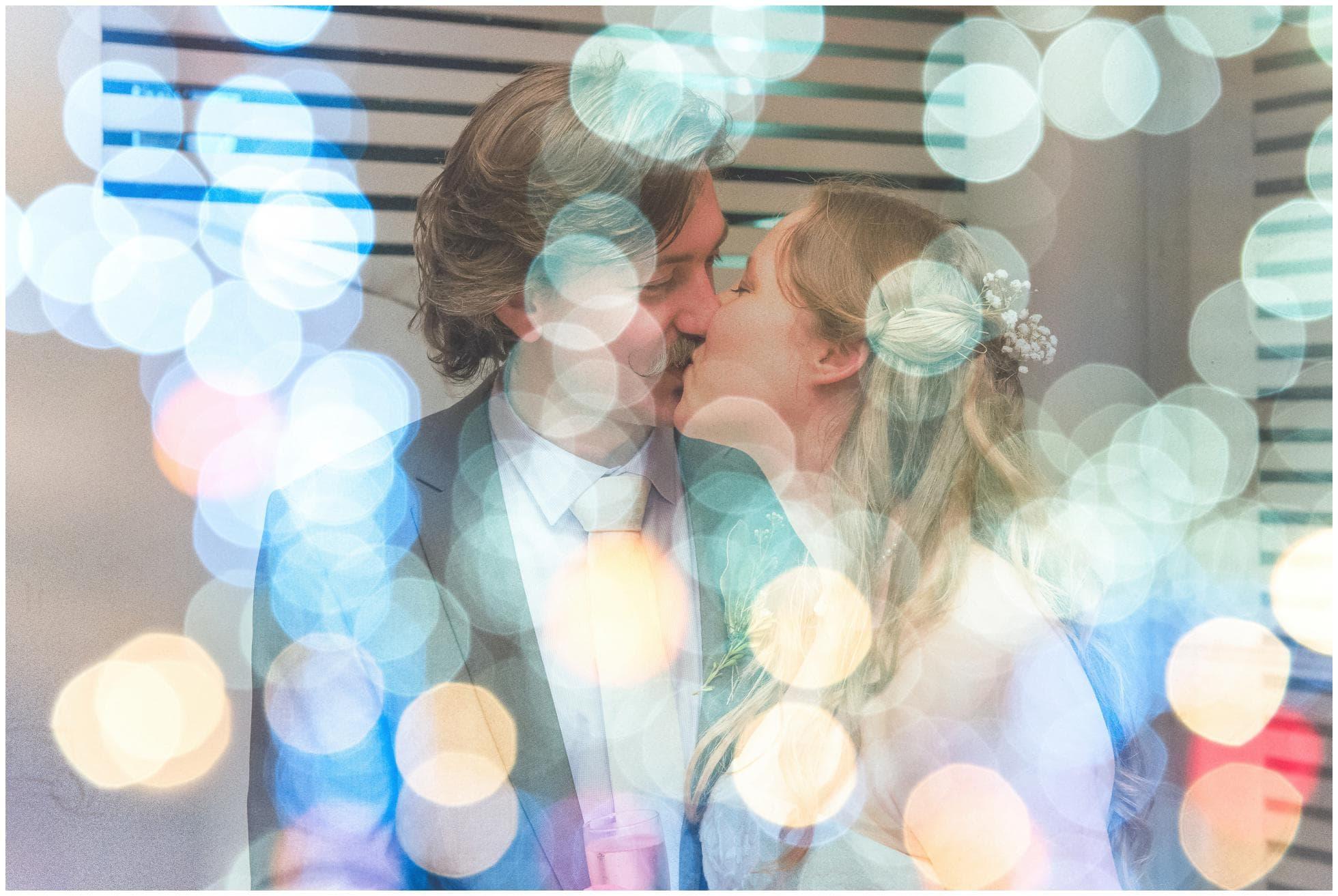 Double exposure kiss at a Sydney Wedding