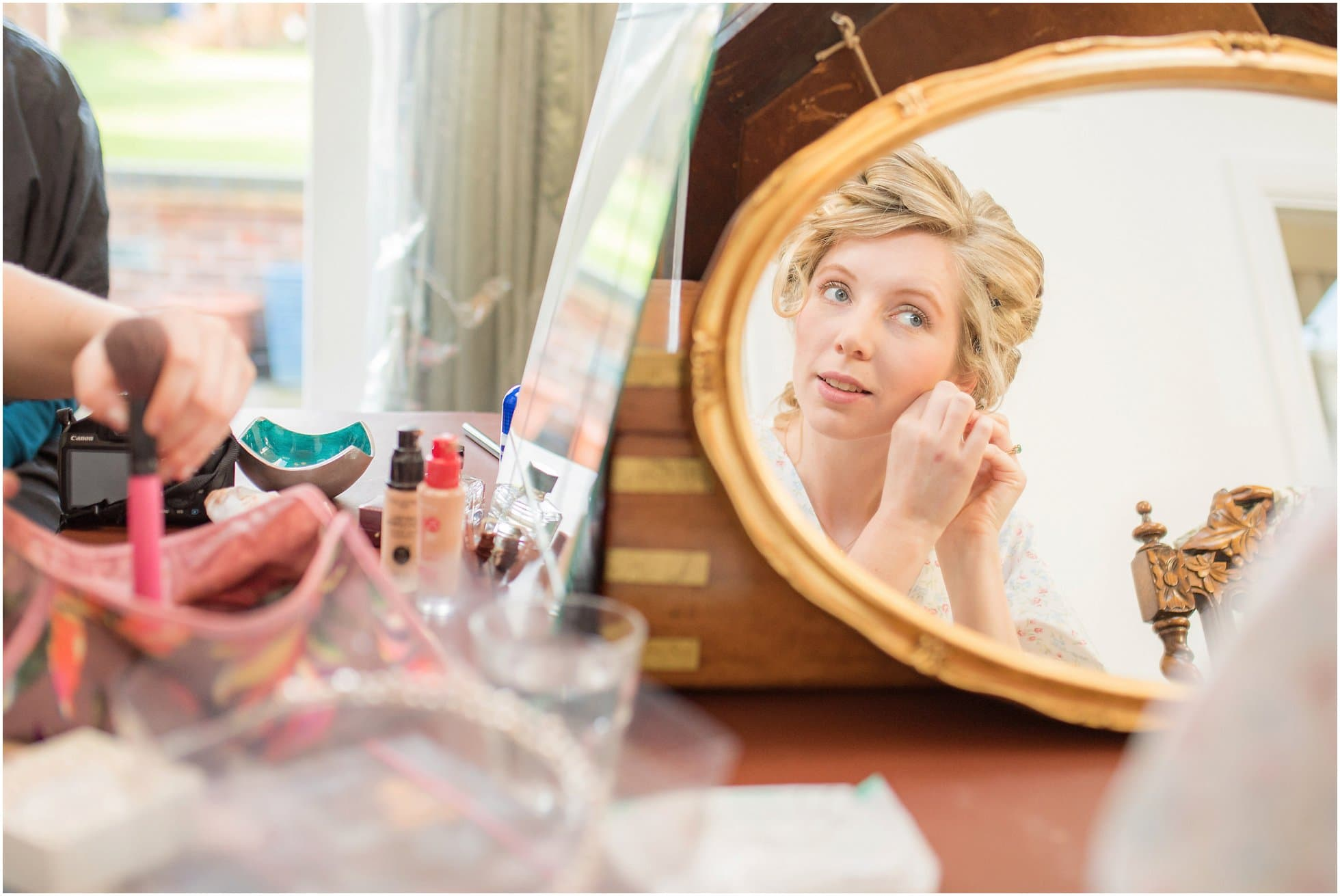 Bride getting ready shot: reportage leicestershire wedding photography