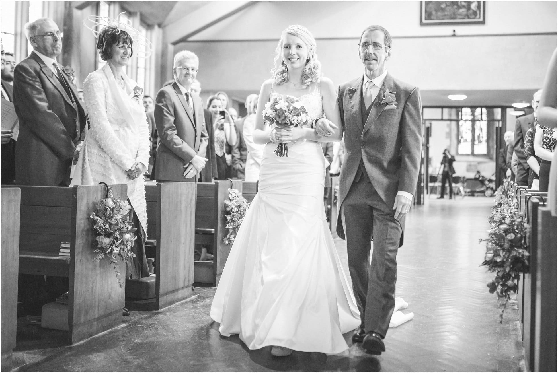 The bride's walk down the aisle in Birstall near Leicester