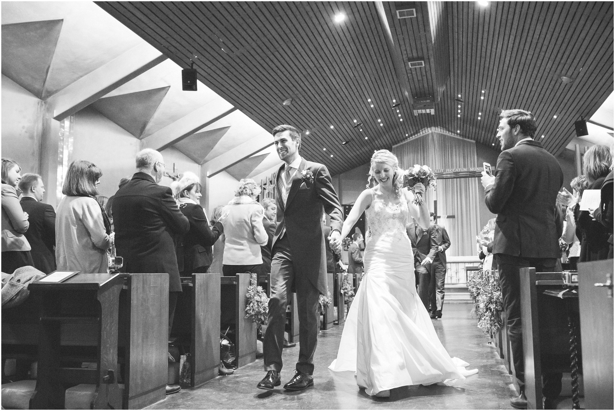 Bride and groom leaving Birstall Church by dancing!