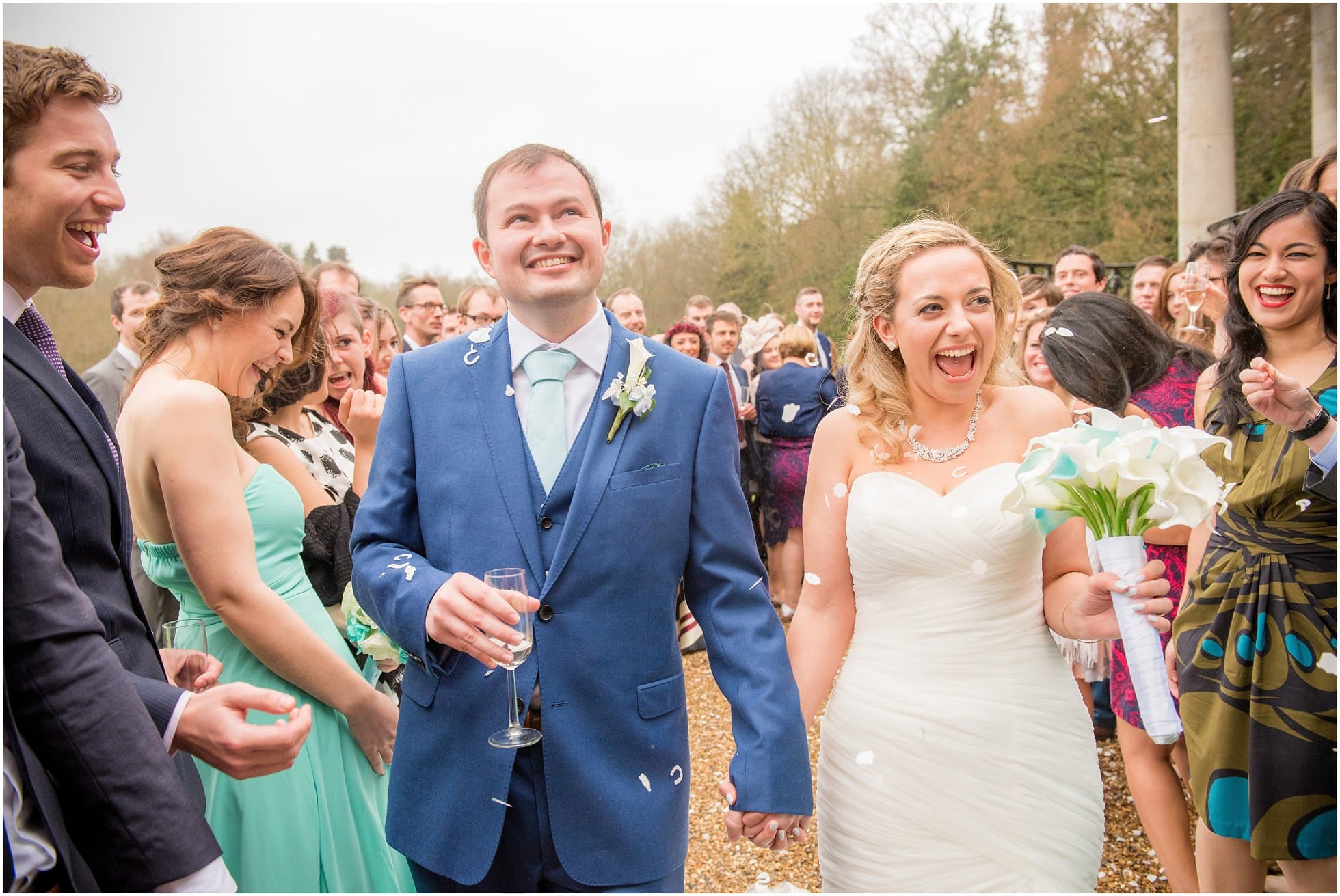 Confetti throwing at Ponsbourne Park Hotel Wedding