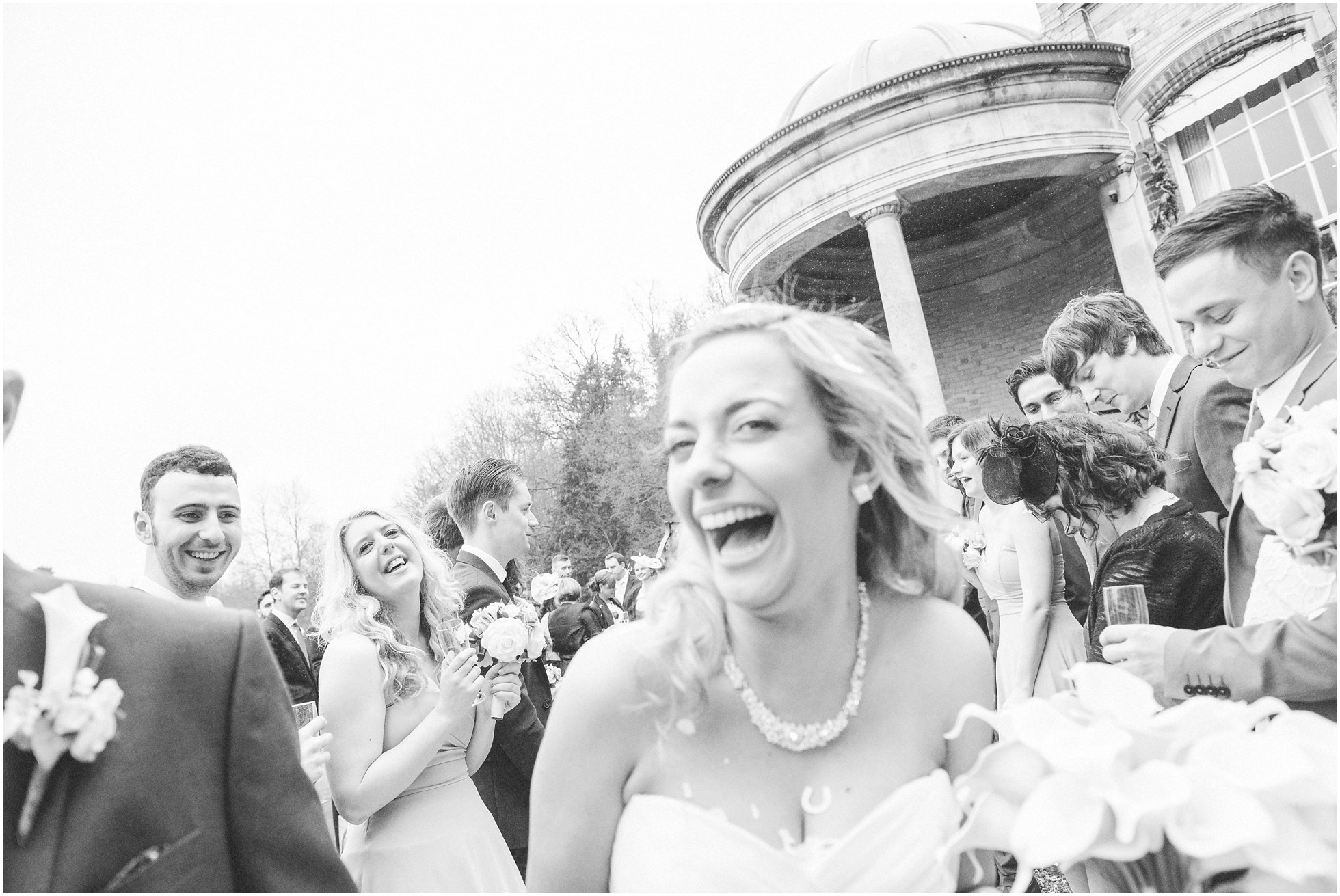 The bride after having confetti thrown at her