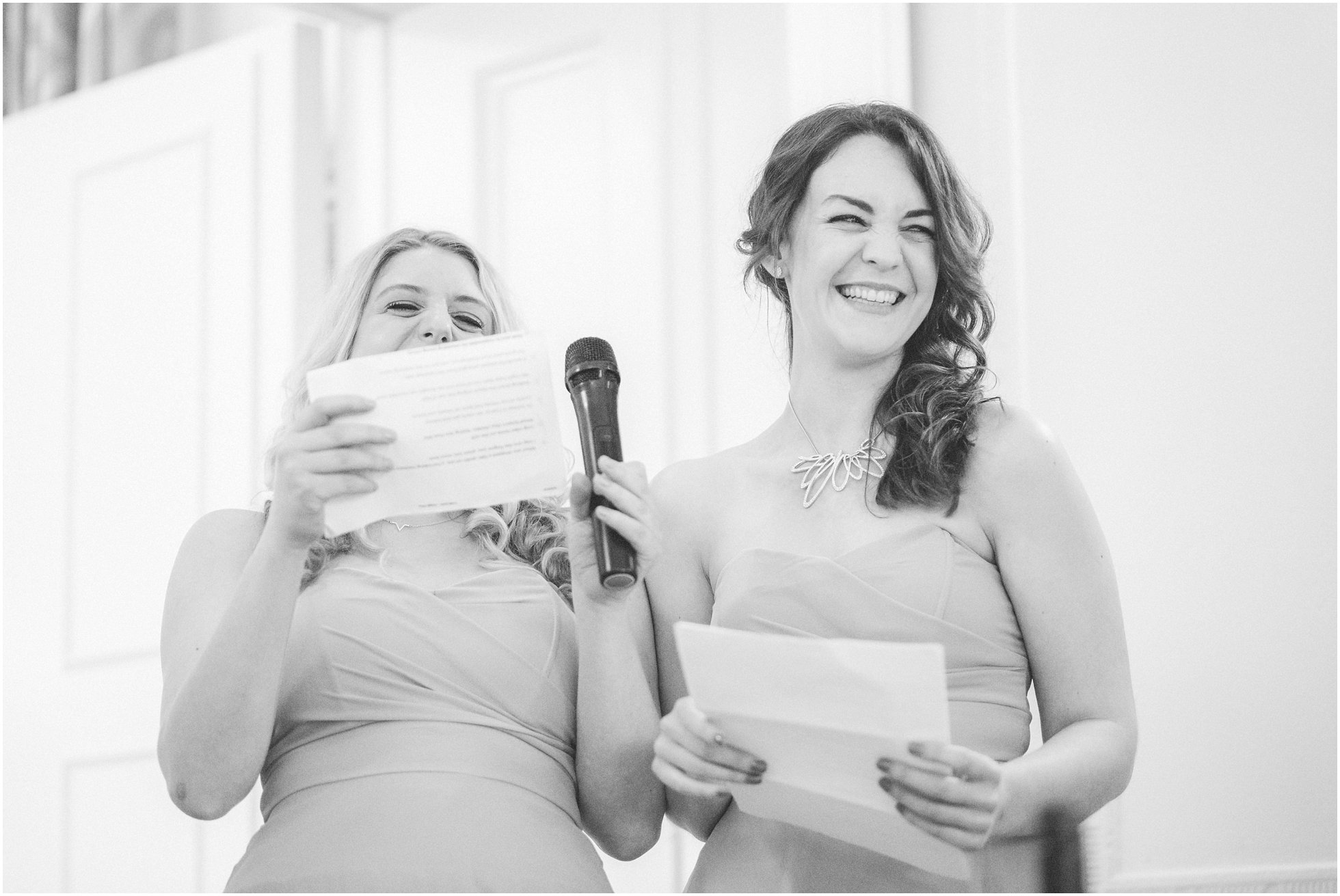 The bridesmaids delivering a cheeky speech