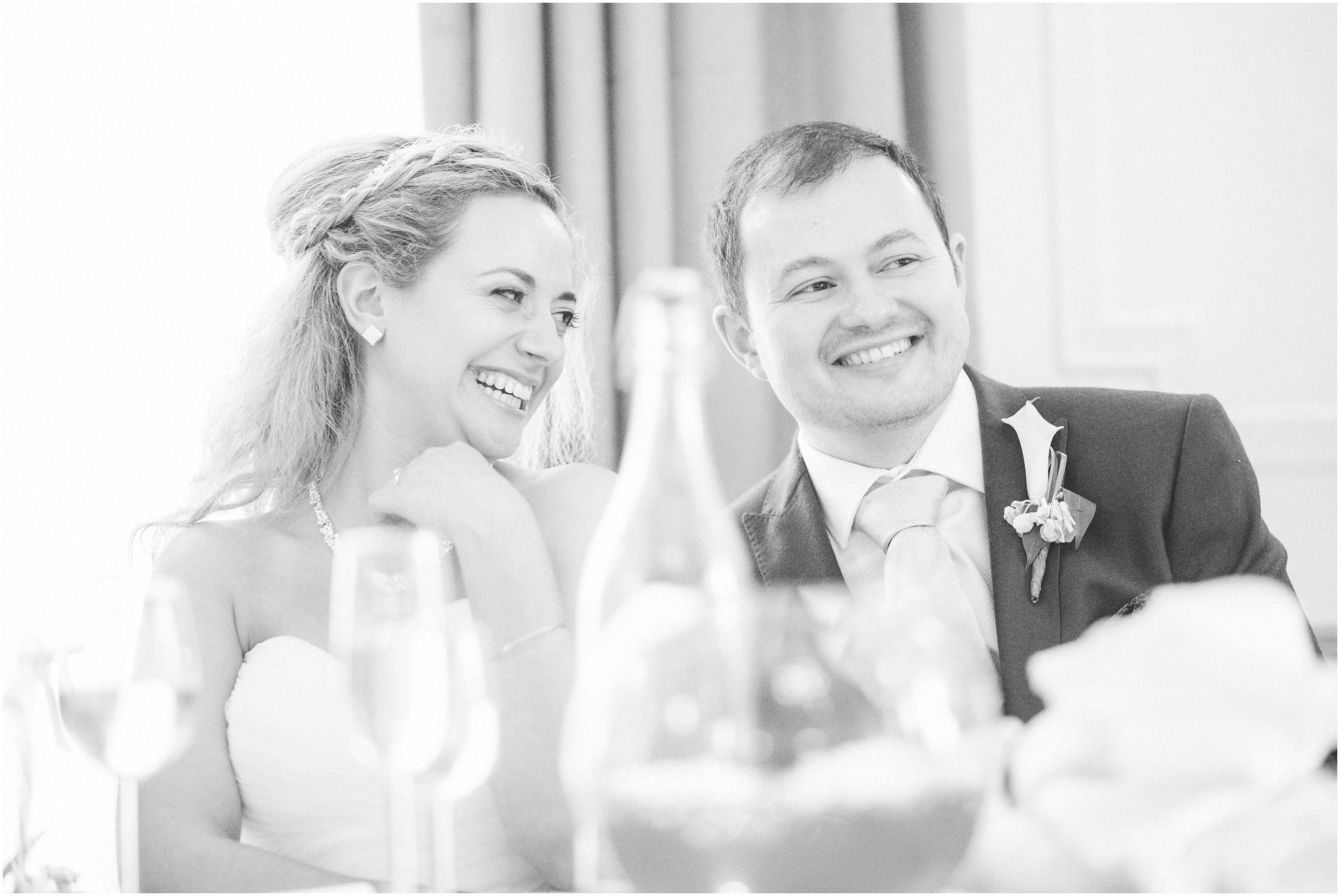 The couple laughing
