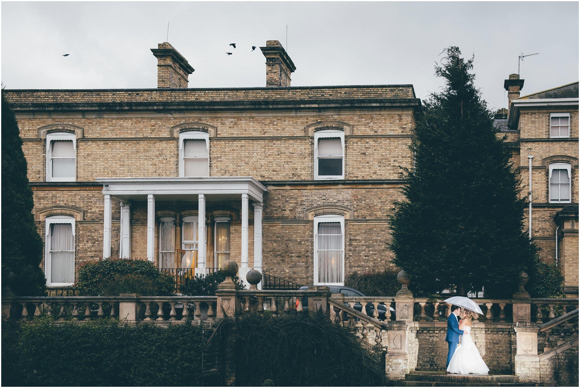 Crows flying overhead at this Hertfordshire Wedding