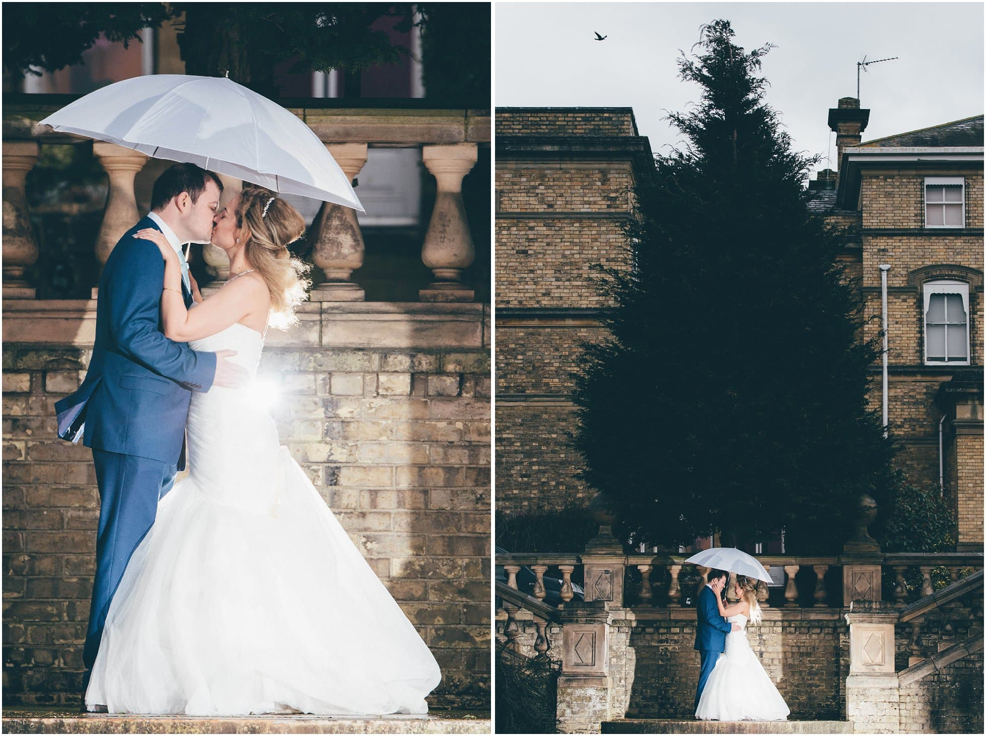 Bride and groom in wet rainy weather at Ponsbourne Park Hotel