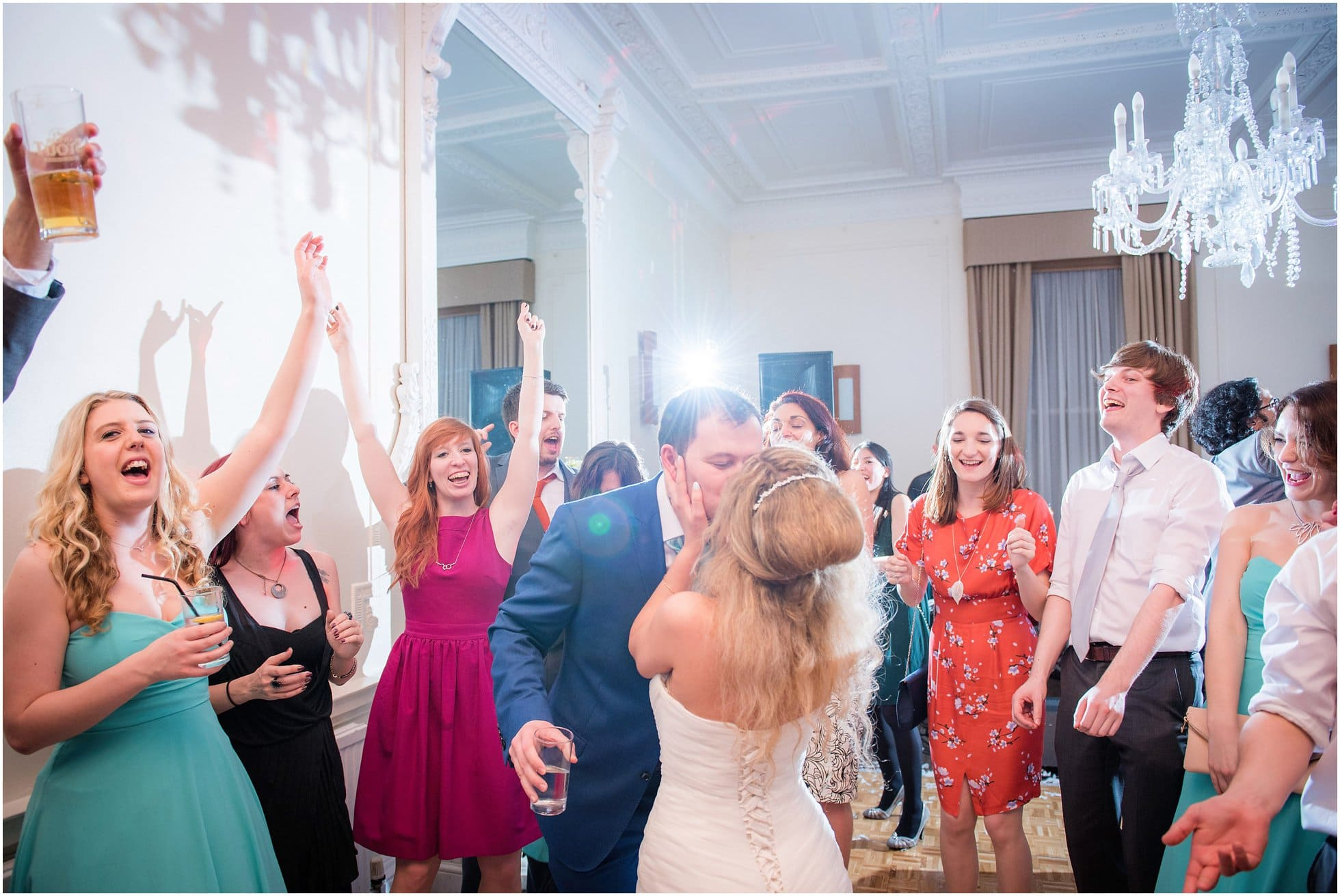 Bride and groom kiss during first dance at Ponsbourne Park Hotel Wedding