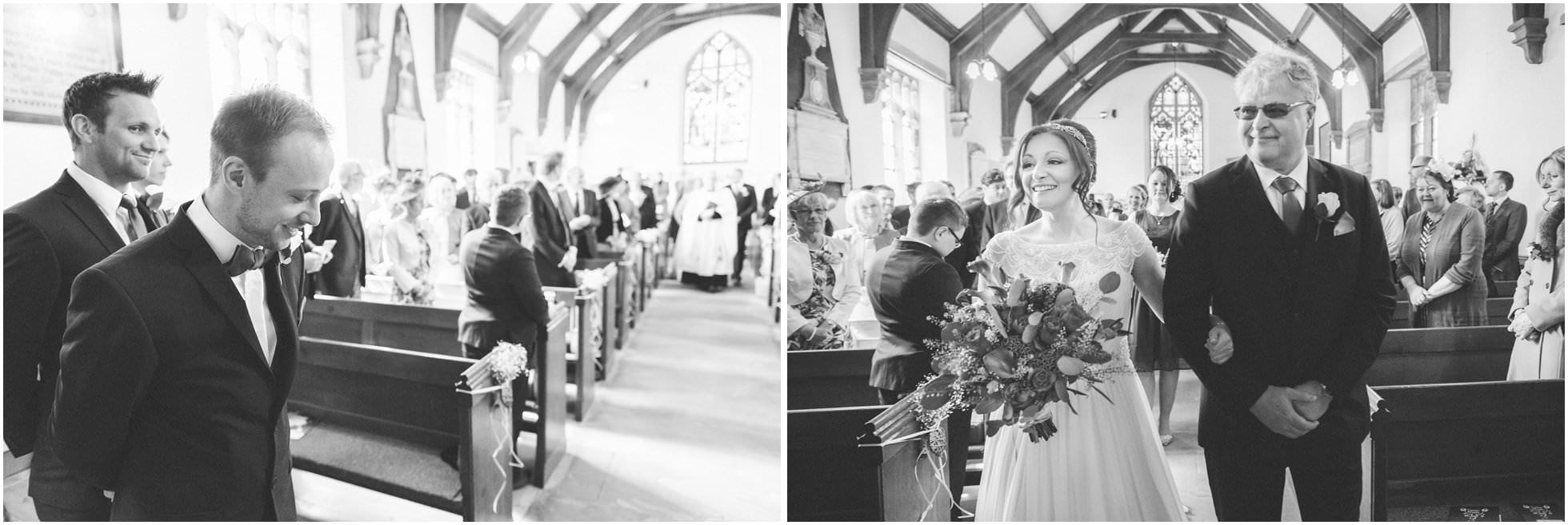 Bride coming down the aisle at Sand Hutton Church, North Yorkshire