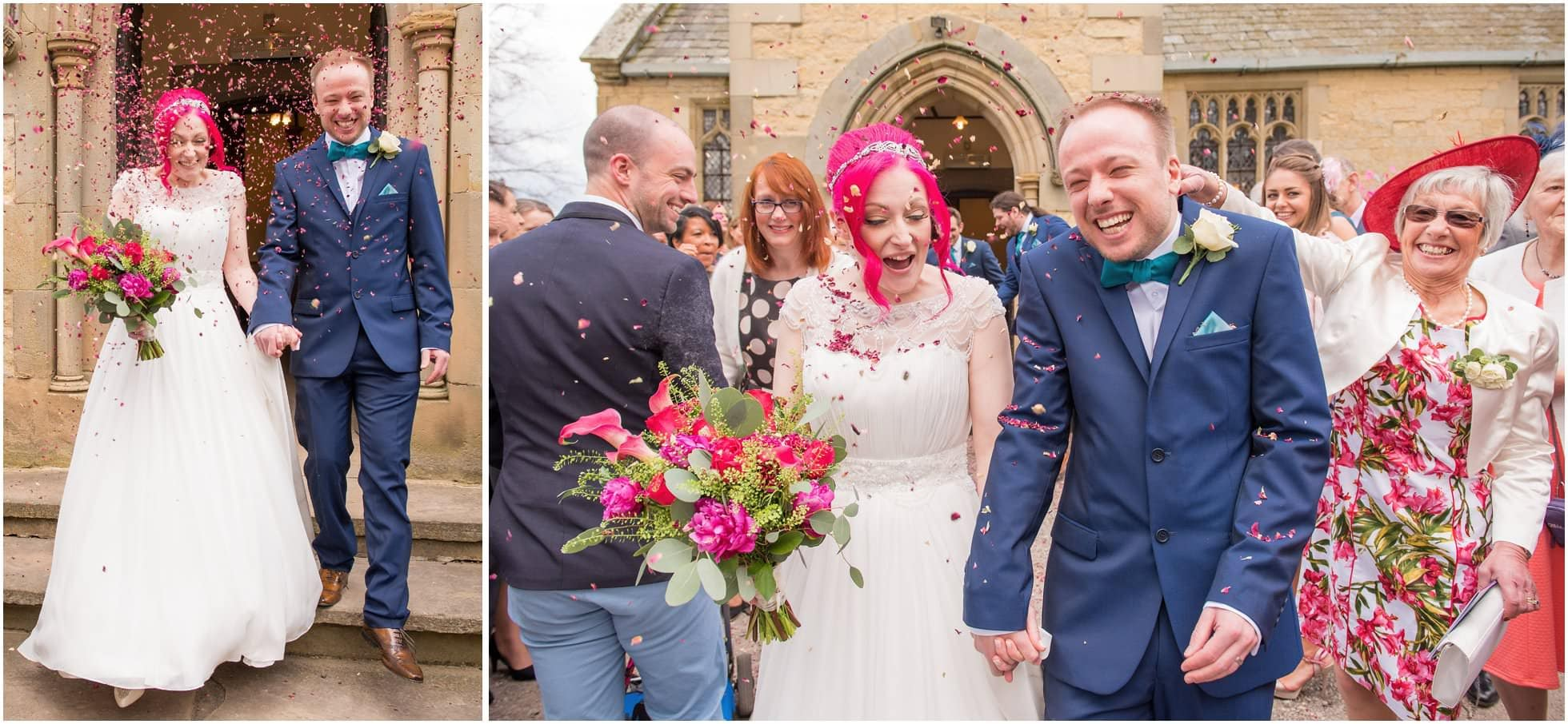Confetti shot outside Sand Hutton Church