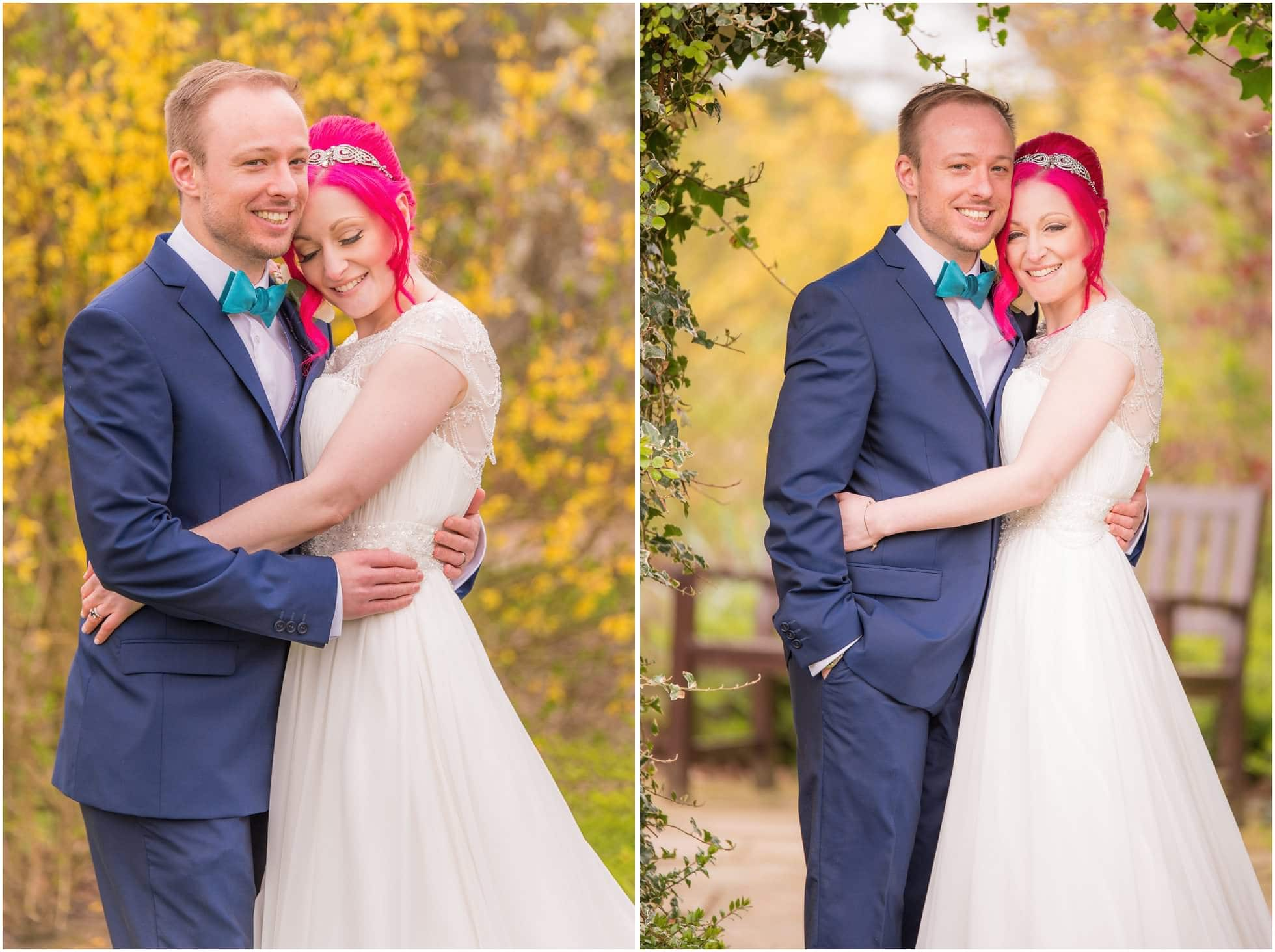 Relaxed portrait shots in the wedding gardens of Sandburn Hall