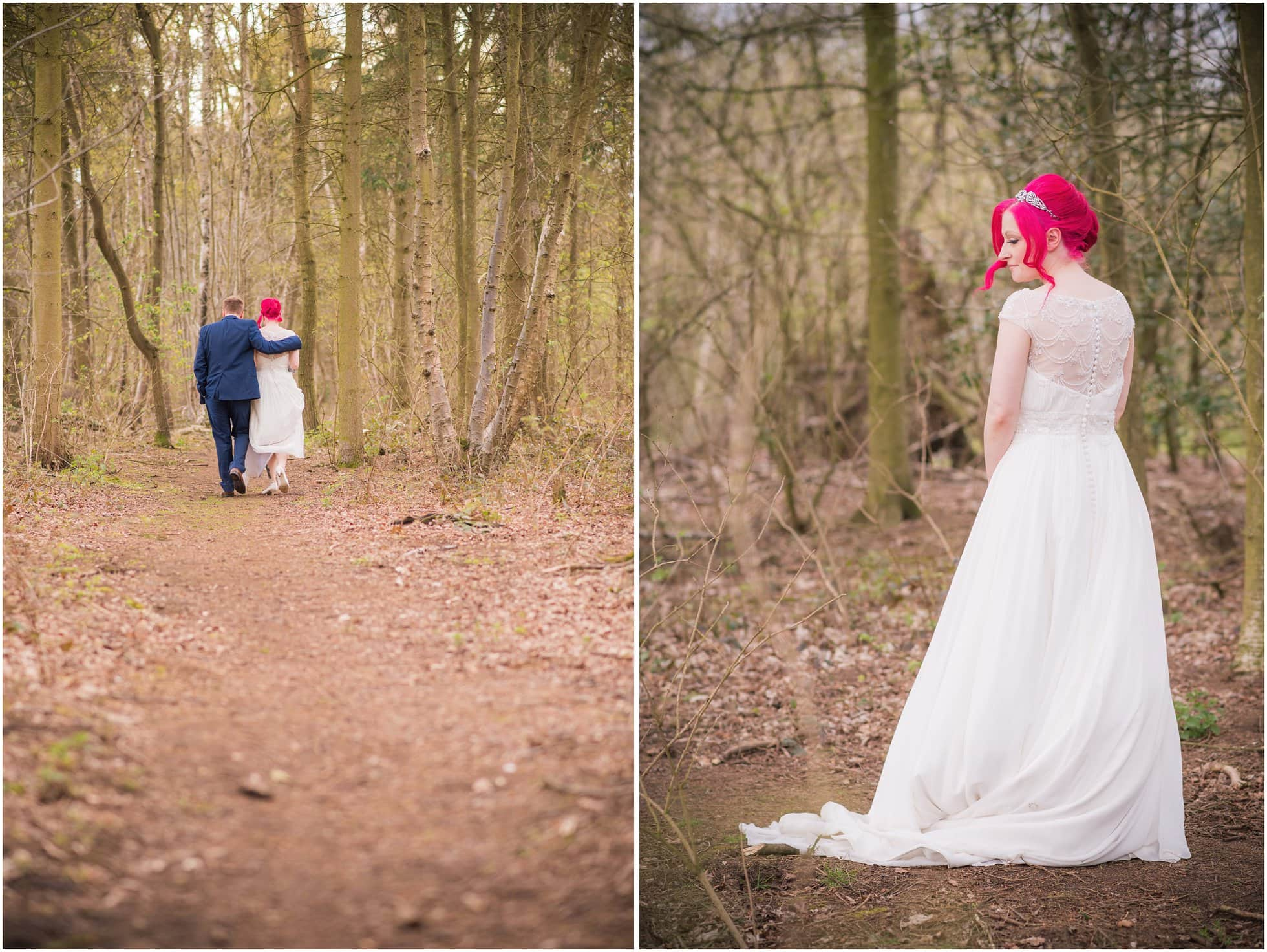 Bright pink hair bride looking awesome in the woods