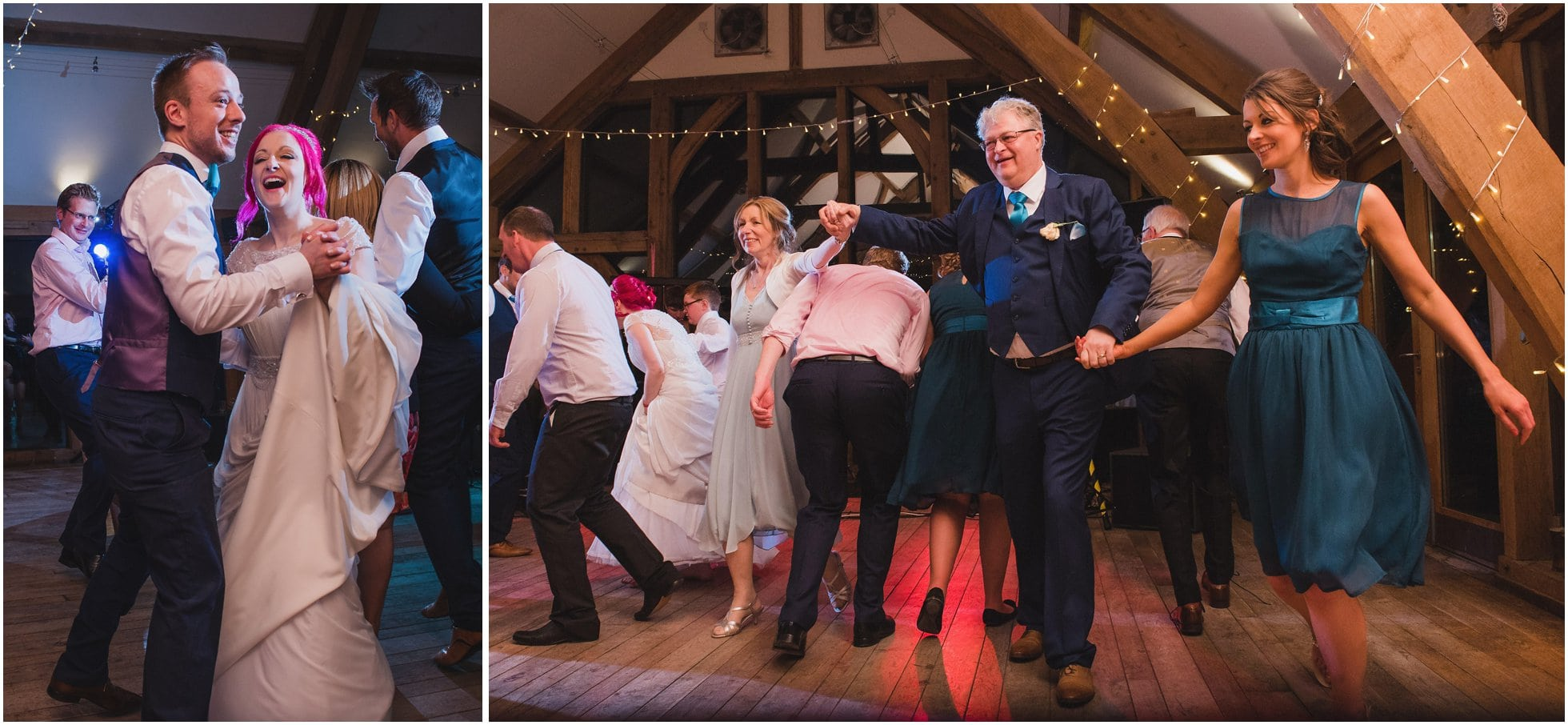 The happy couple and her parents dancing at this York wedding