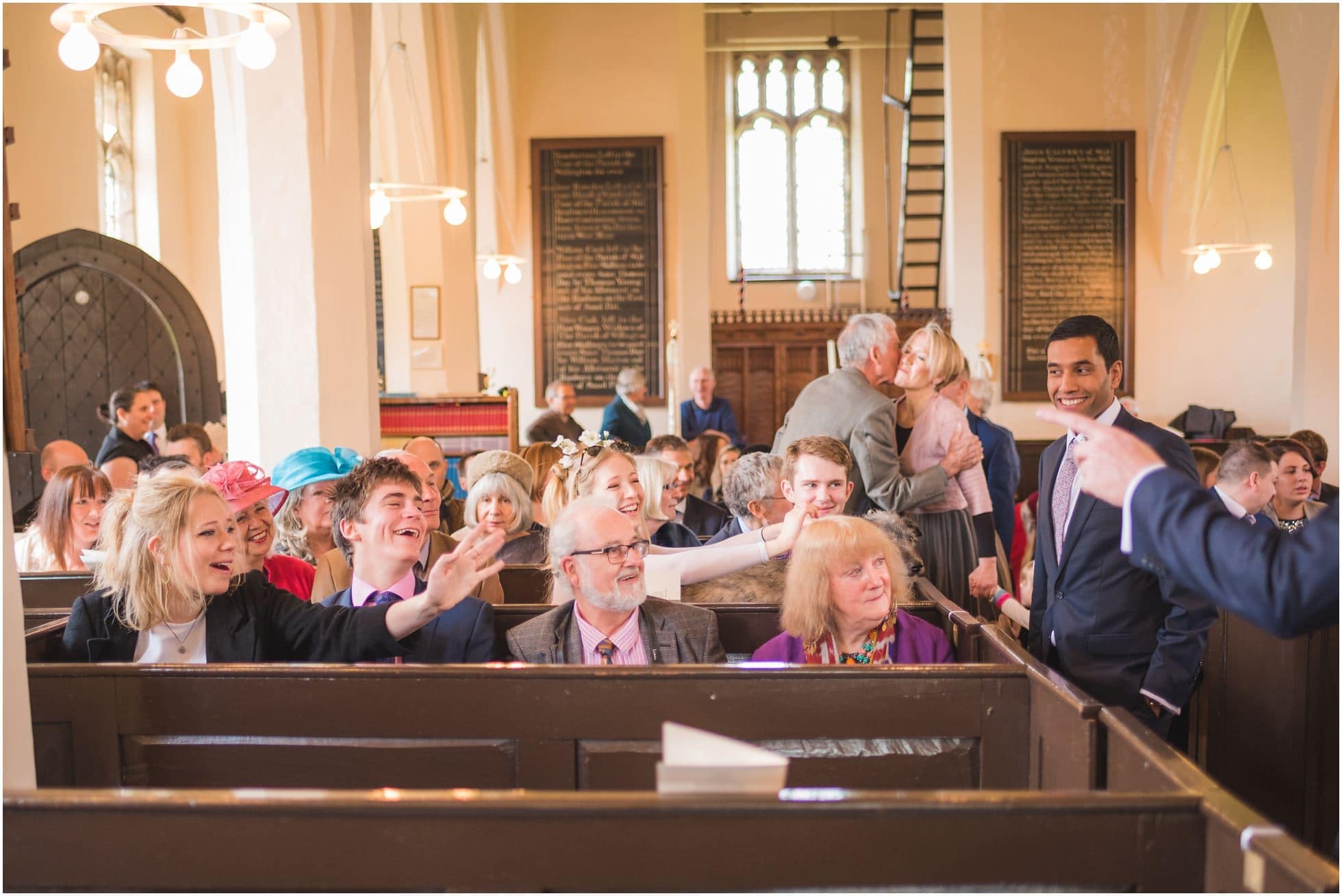 The guests waiting in the church