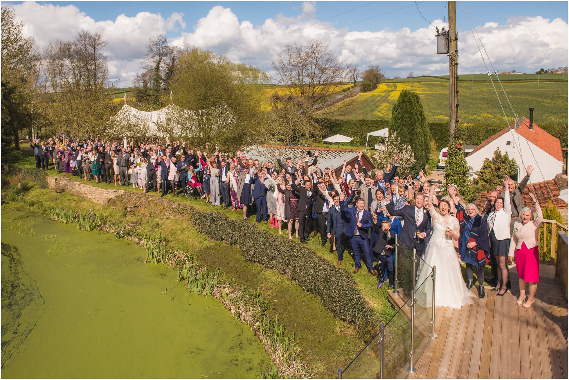 Photo of all the guests at The Mill, Stillington York Wedding Photography