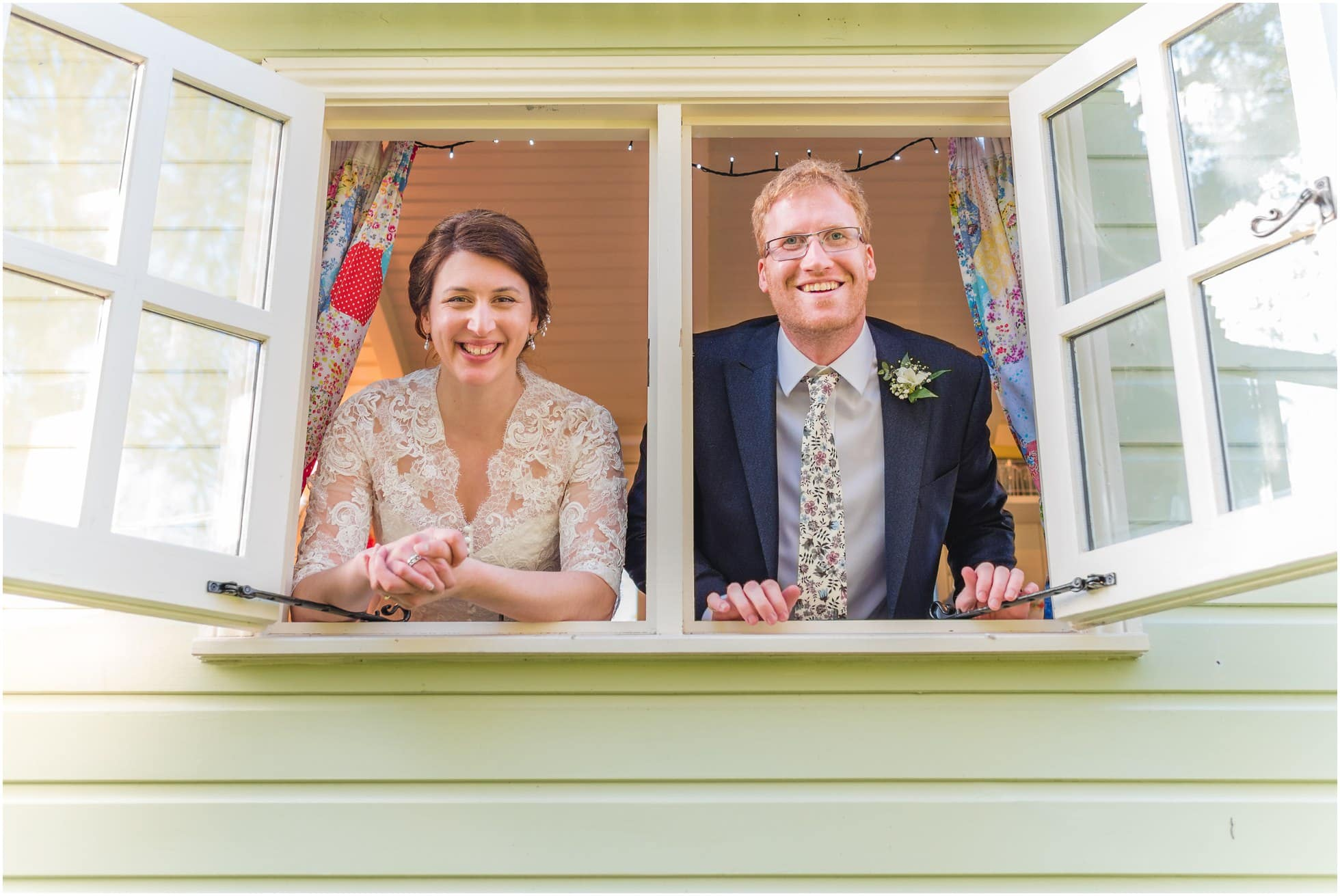 Looking out of the gypsy caravan at a Mill, York Wedding Photographer