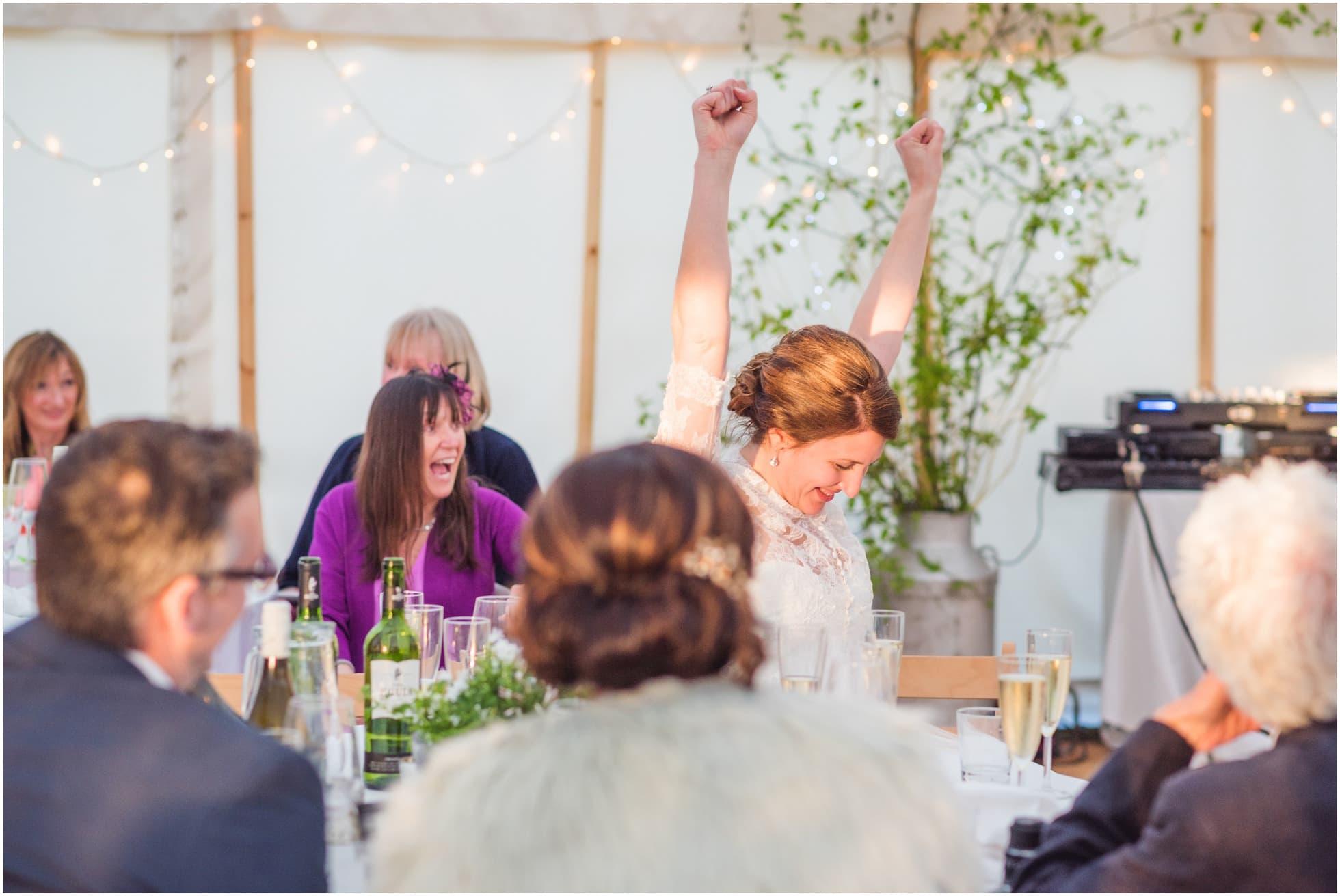 Bride in a celebratory mood!