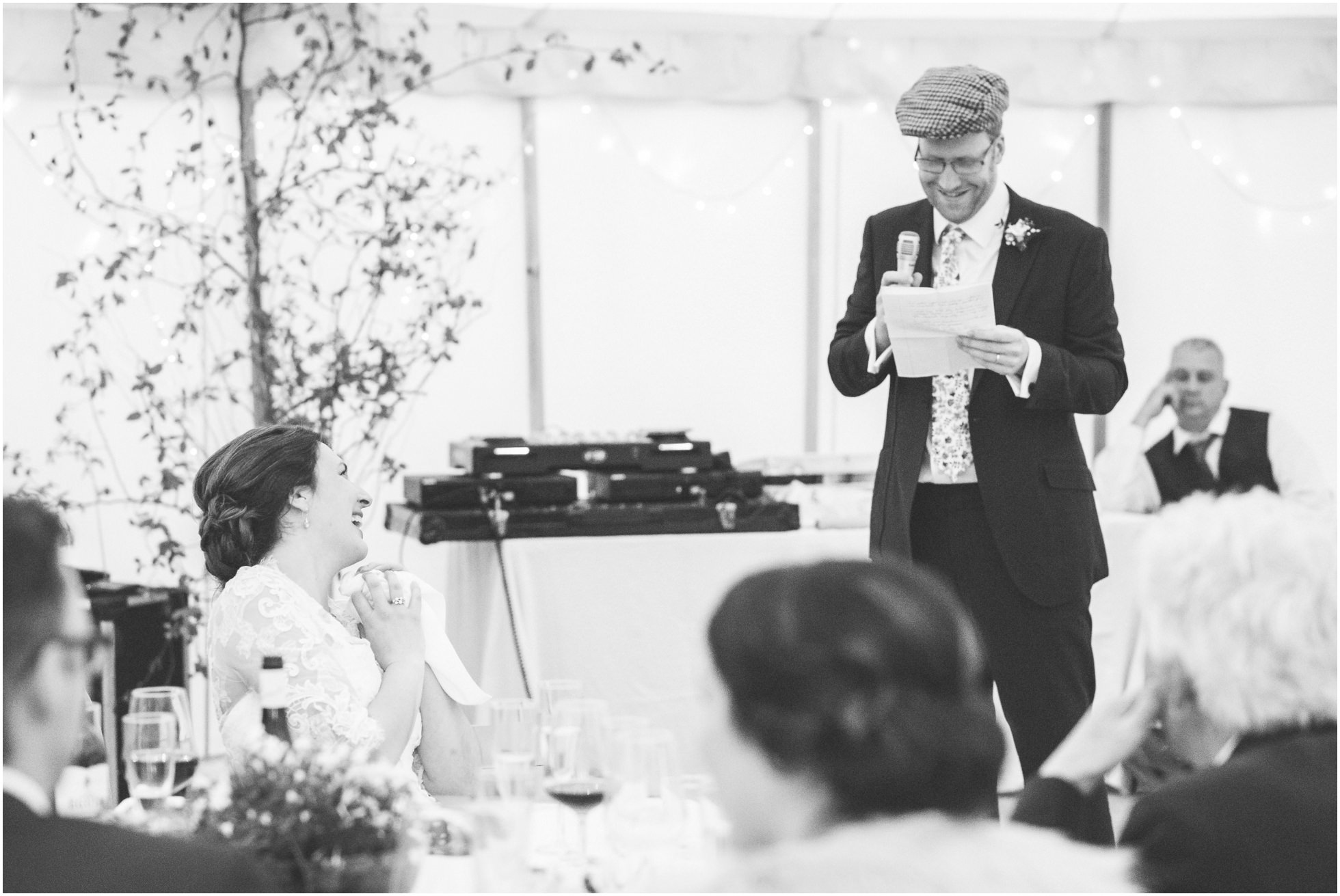 The groom giving his speech in Yorkshire flat cap