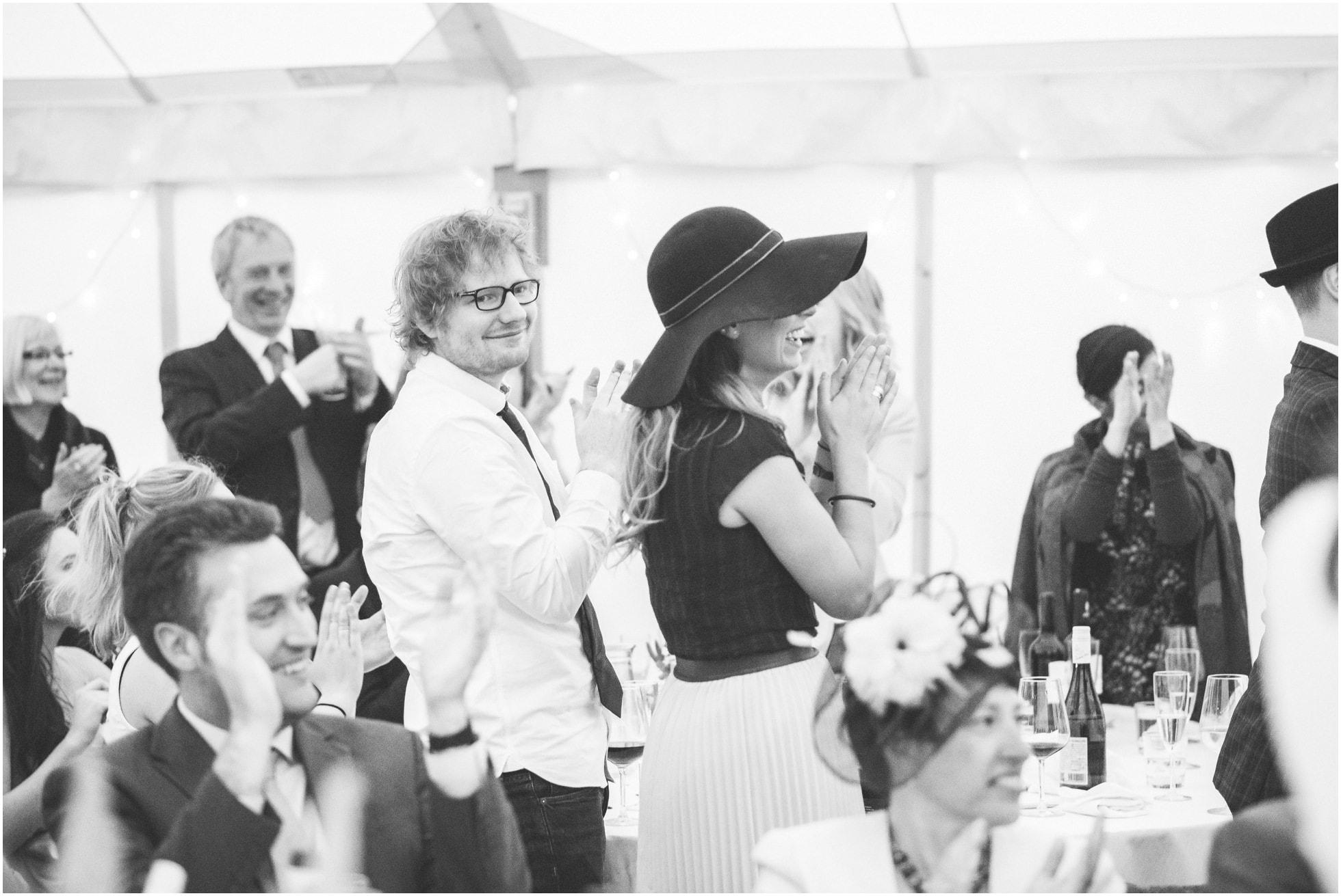 Ed Sheeran enjoying the speeches at a York Wedding