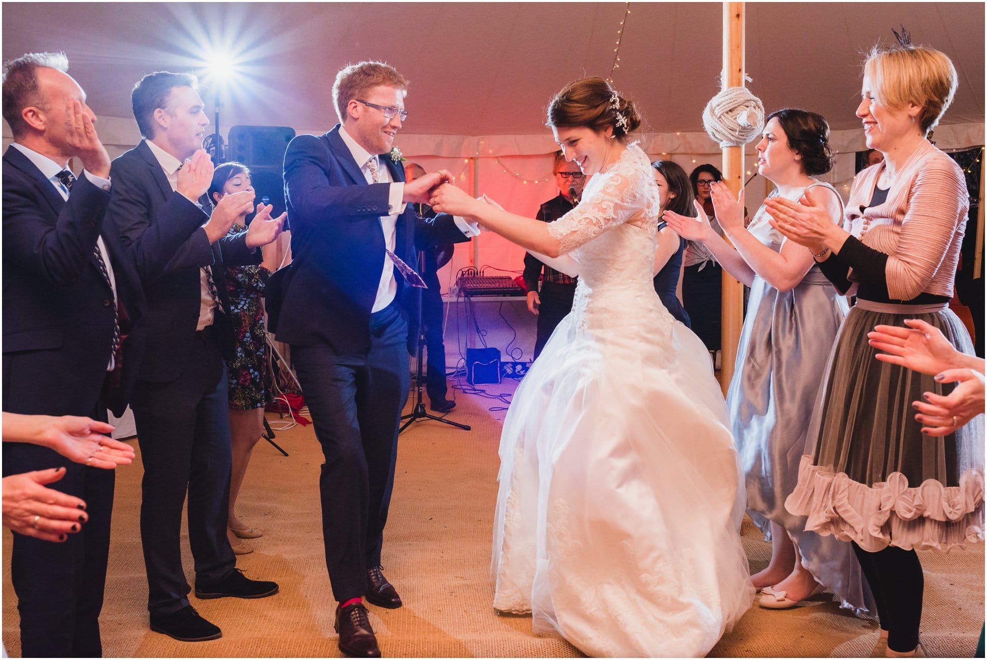 Bride and groom at their ceilidh