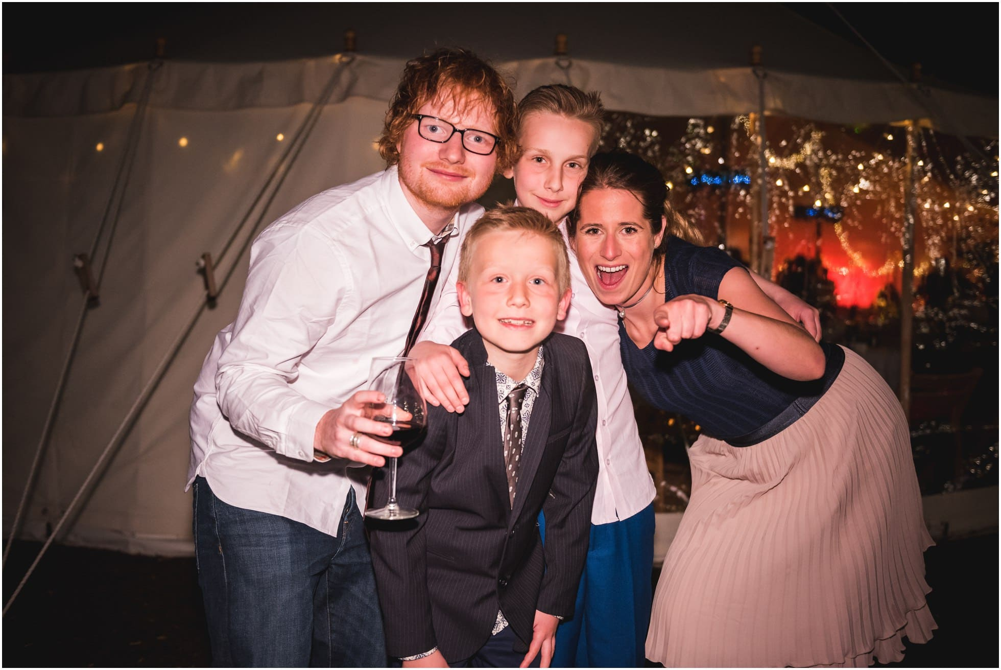 Ed Sheeran posing with his lovely girlfriend and relatives