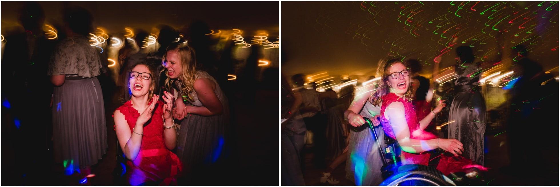 Lovely girl in wheelchair dancing the night away