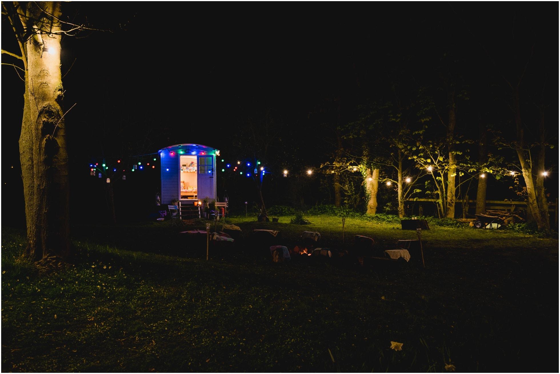 The Mill, Stillington York wedding venue in the evening.Gypsy caravan.