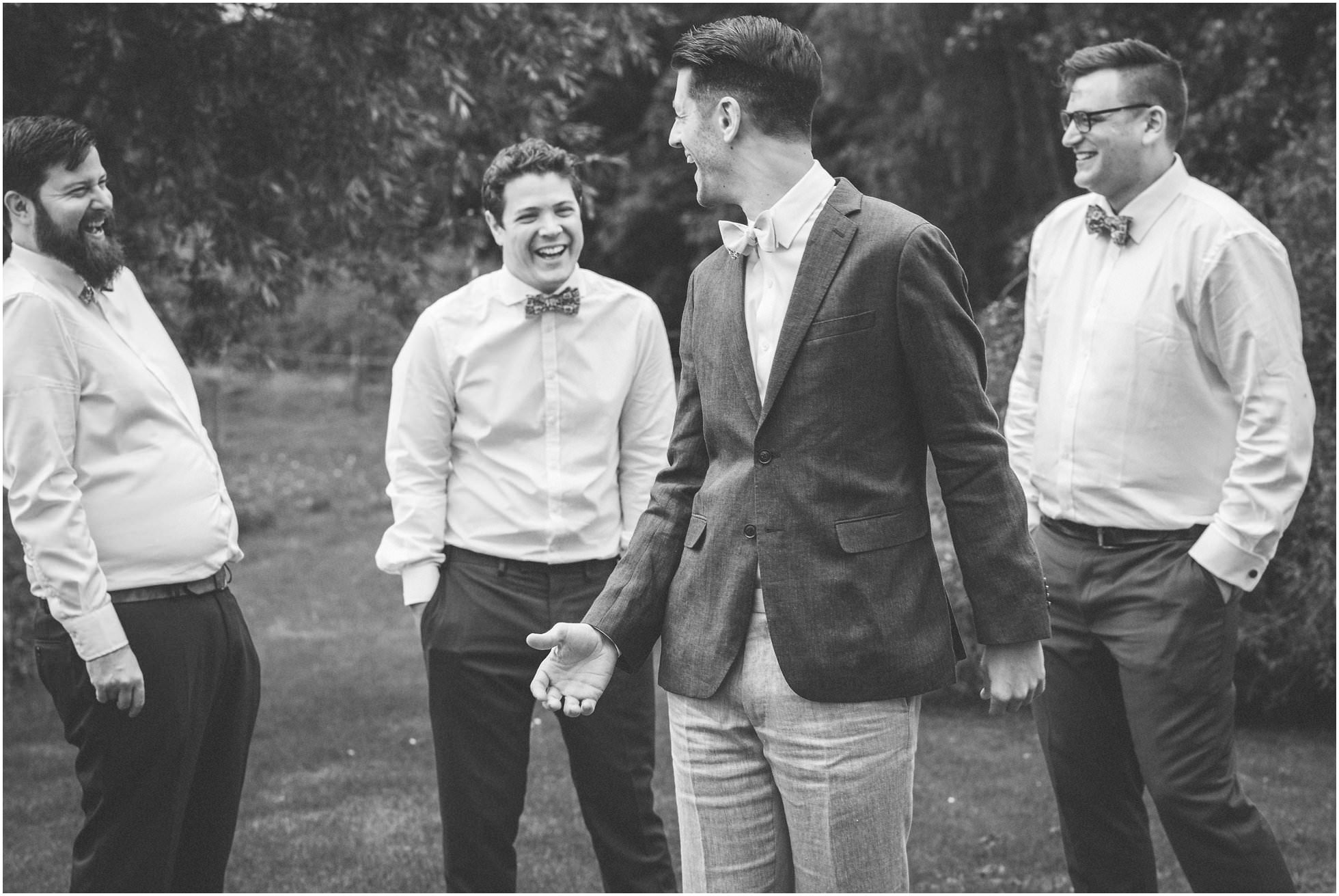 the groomsmen joking around