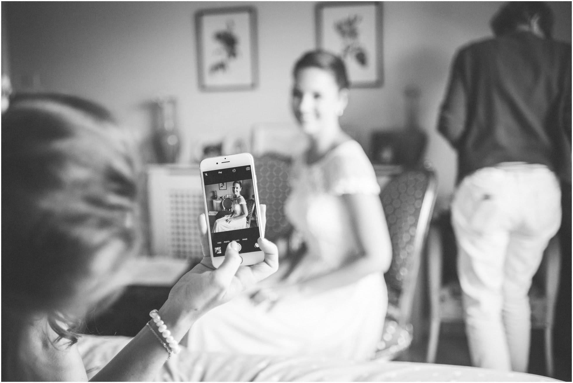 phone photo of bride
