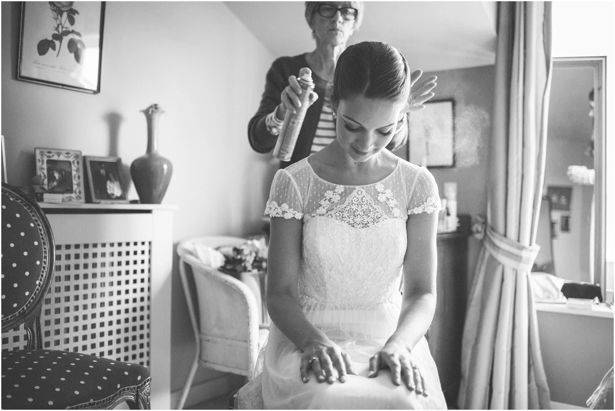 hairspray during the bridal prep