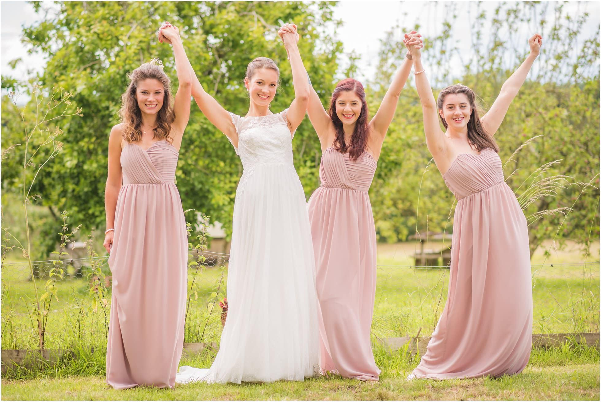 bridesmaids looking cute and playful