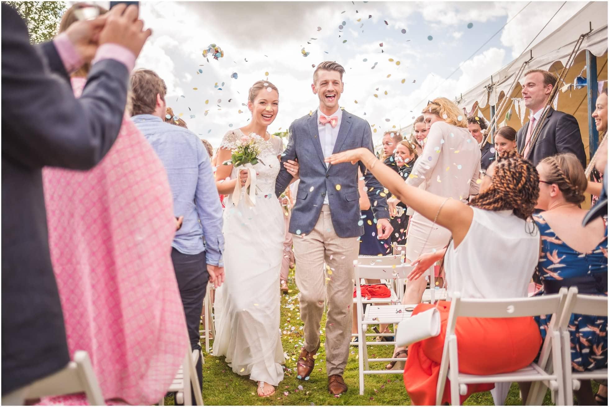 Confetti at a Suffok wedding