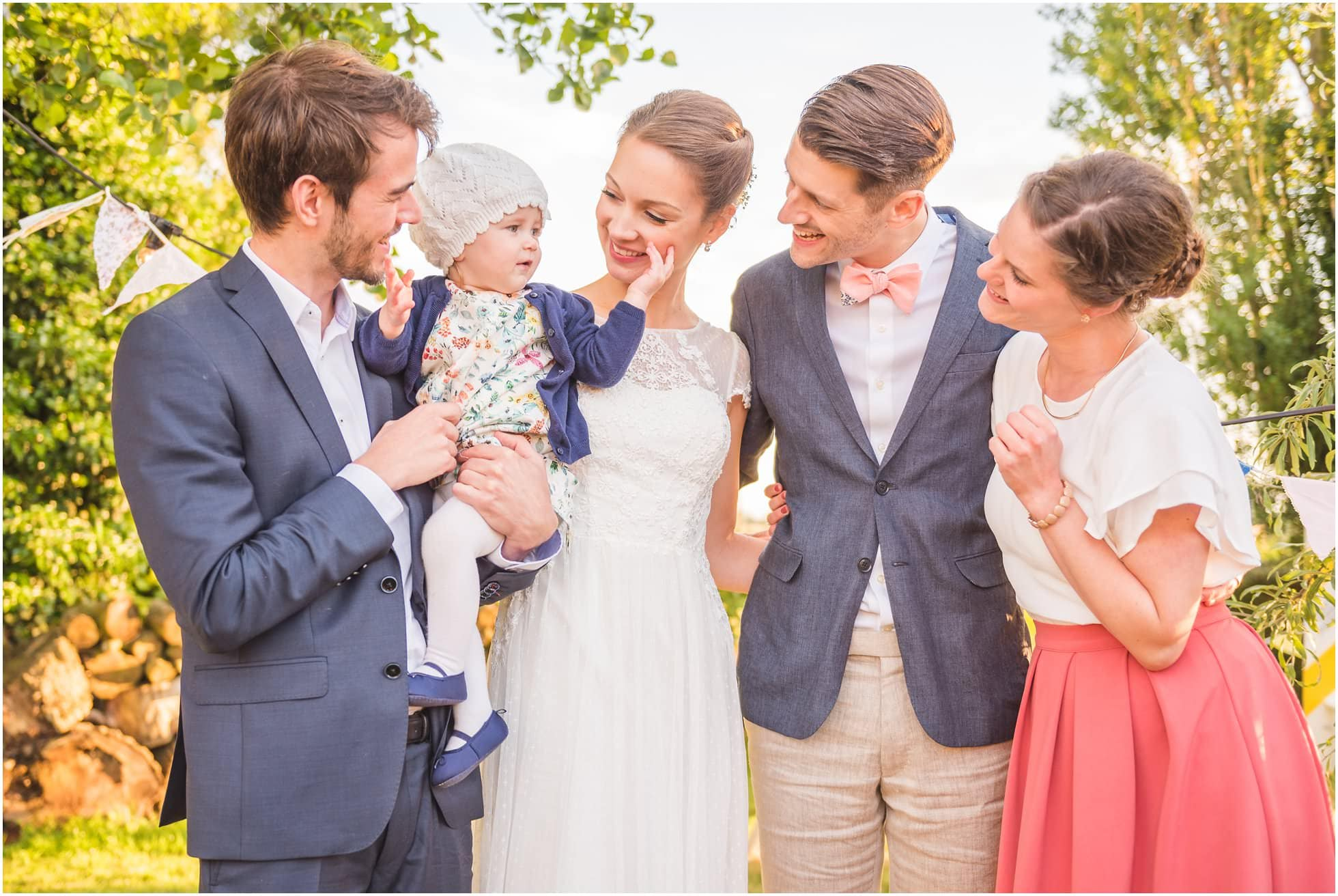 Relaxed and informal wedding photography group shot