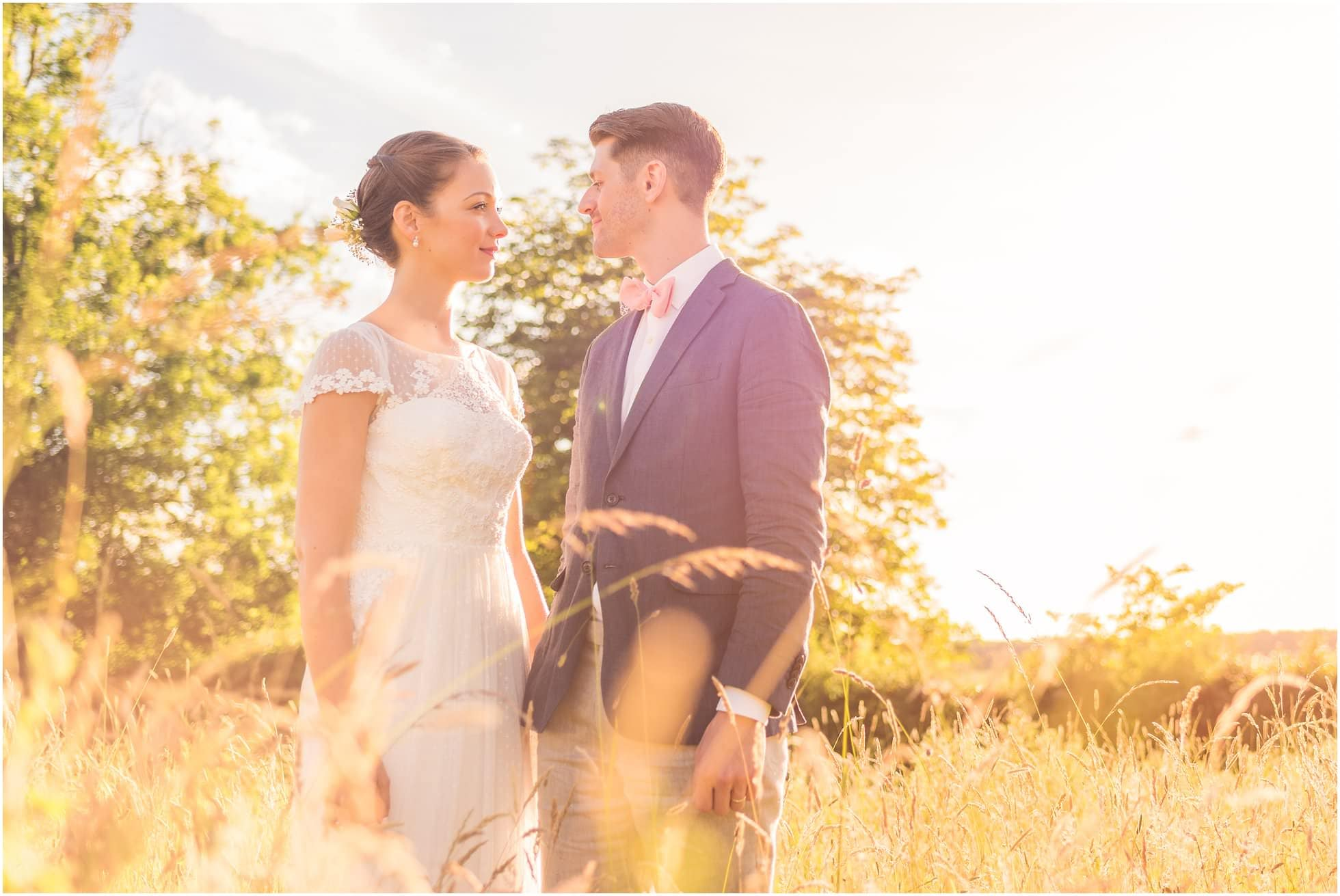 Suffolk Garden Wedding Photographer, Winston Sanders shot of the stunning bride and groom at golden hour