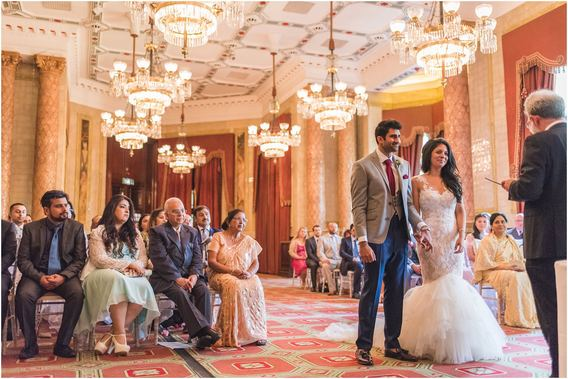 Bride and Groom getting married in the Reading and Writing Room at One Whitehall Place